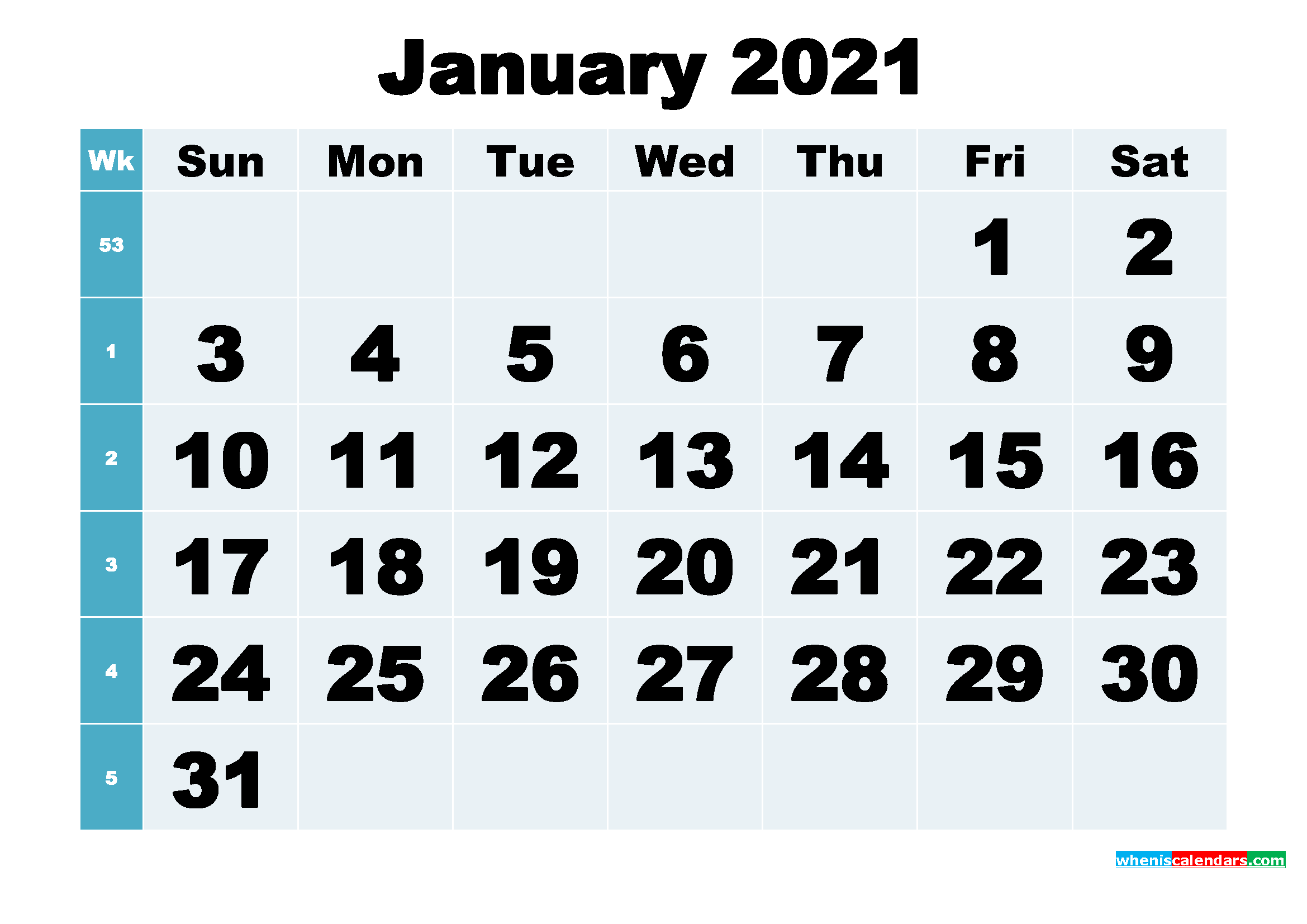 Free Printable January 2021 Calendar Word, PDF, Image