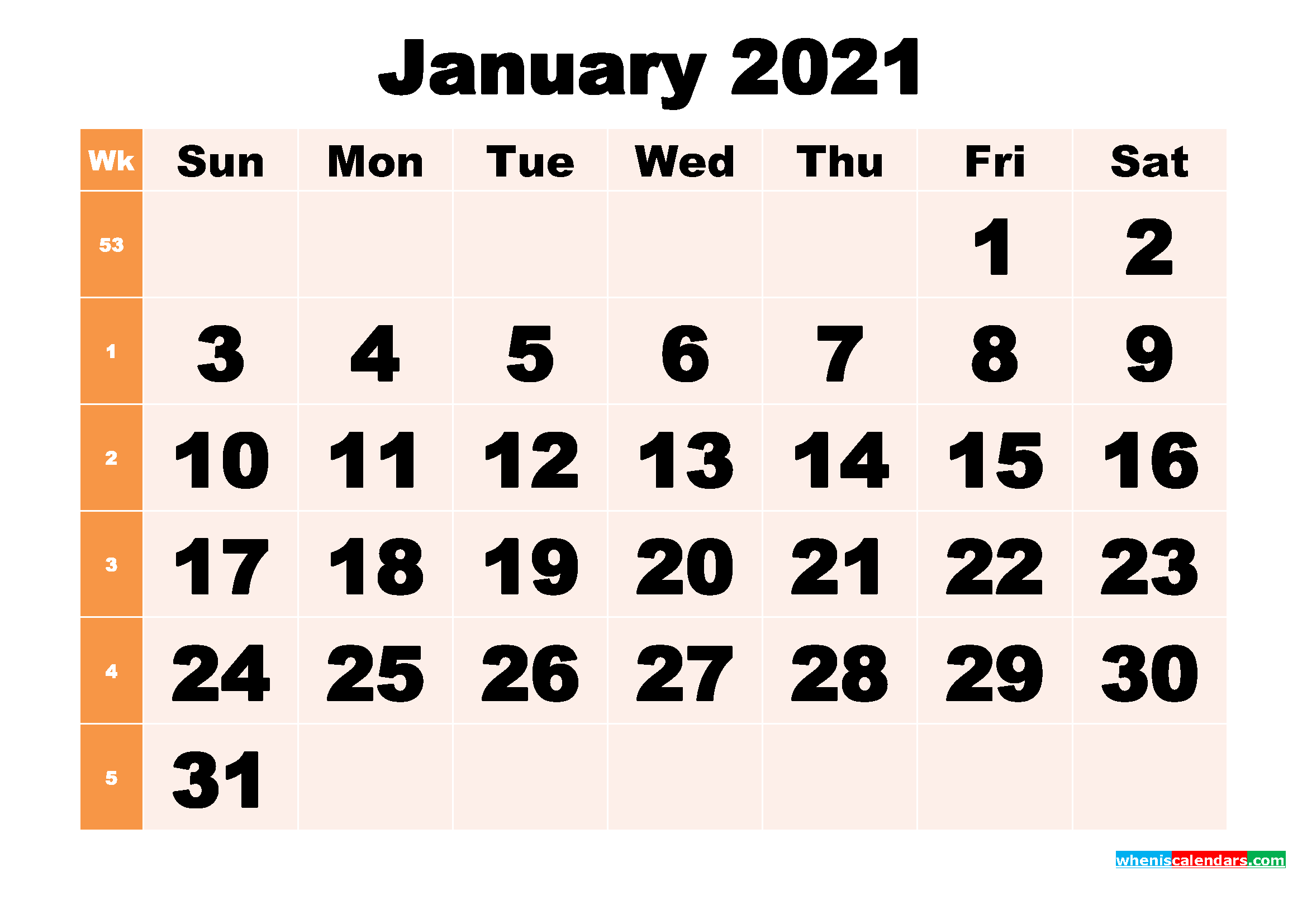 Free Printable January 2021 Calendar Template Word, PDF ...