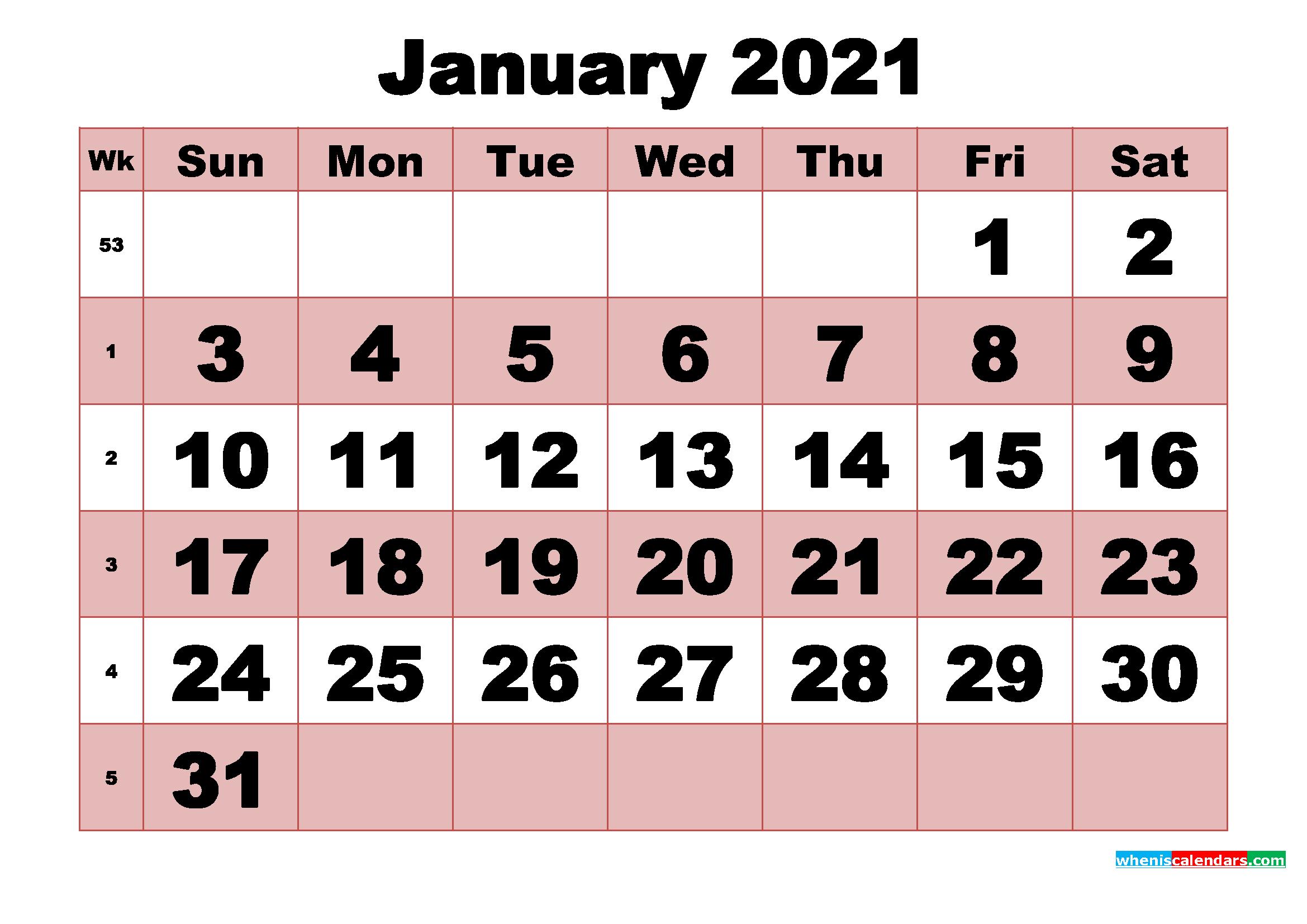 Free Printable Monthly Calendar January 2021 | Free ...