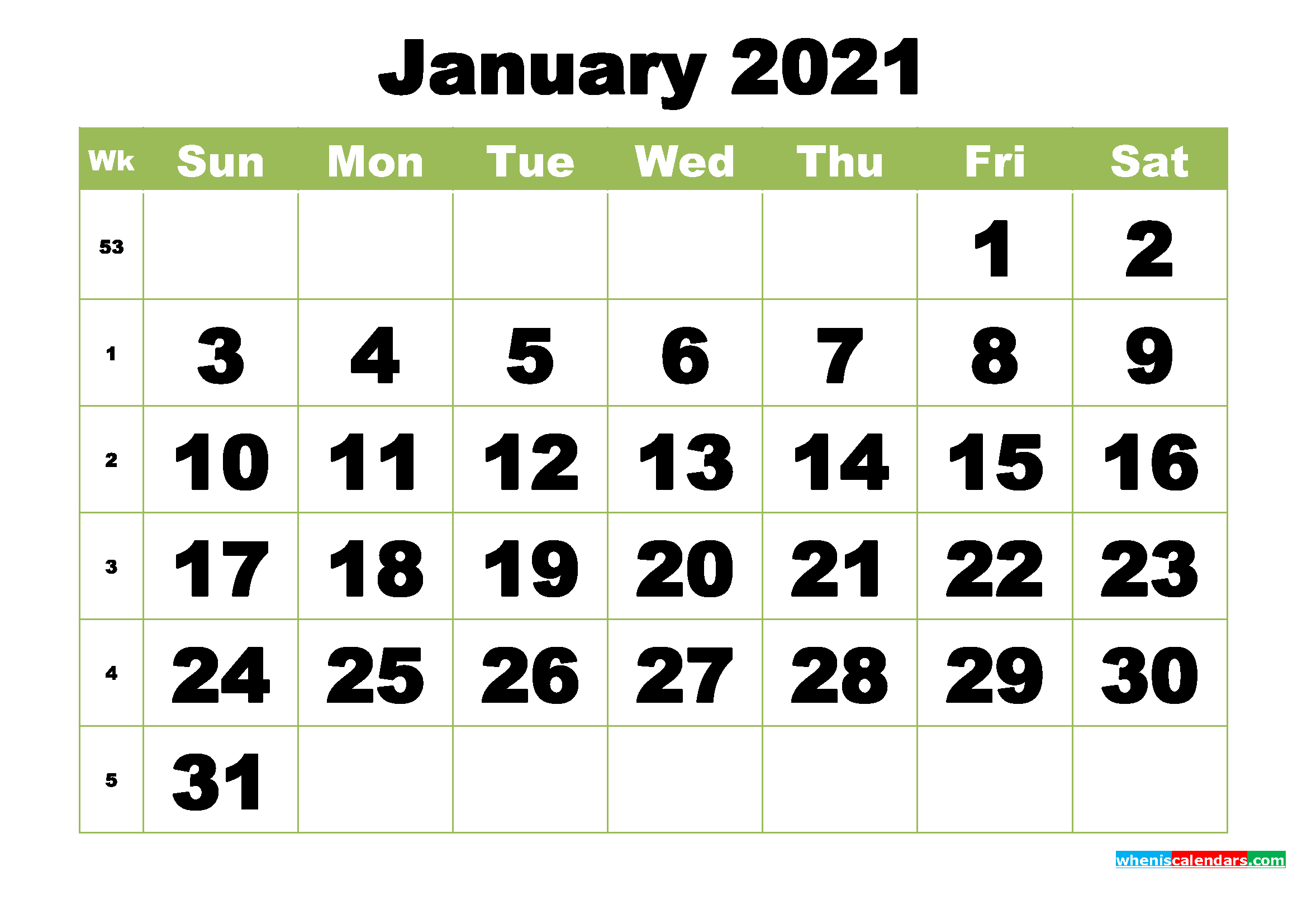 Free Printable Monthly Calendar January 2021 - Free ...