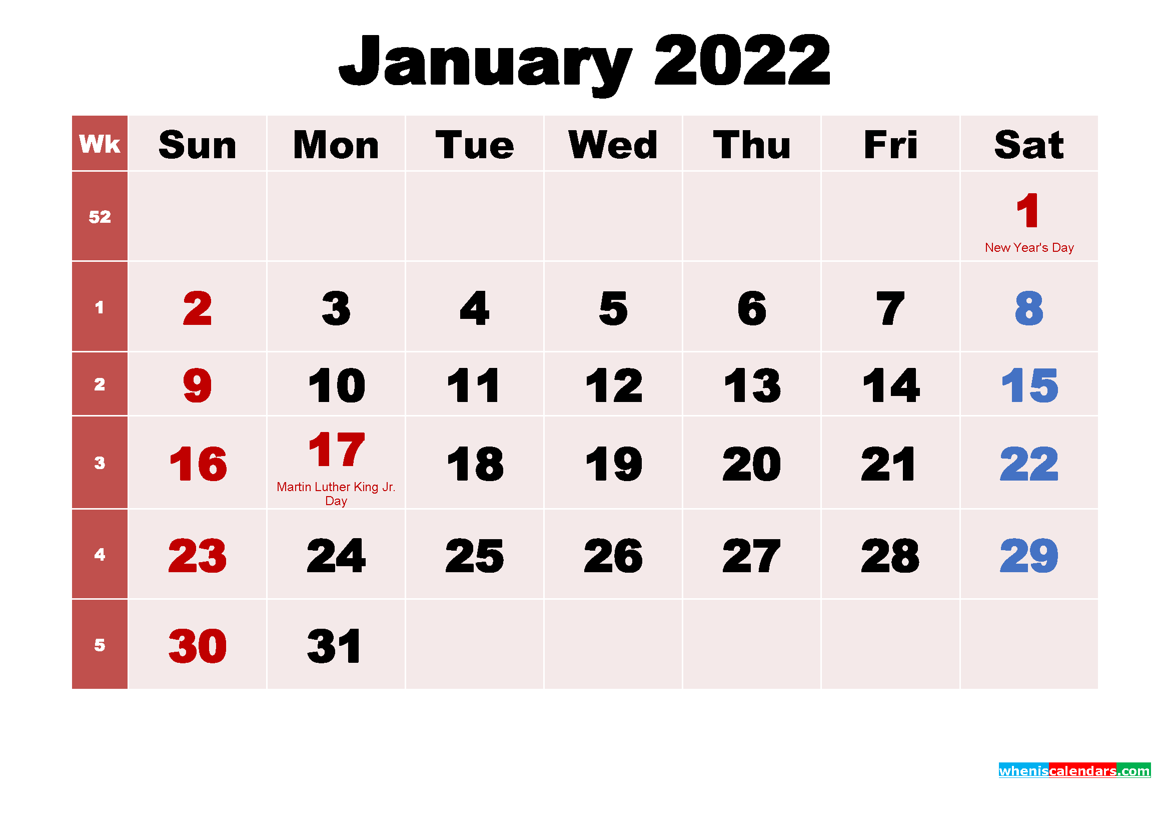 January 2022 Calendar Wallpaper Free Download