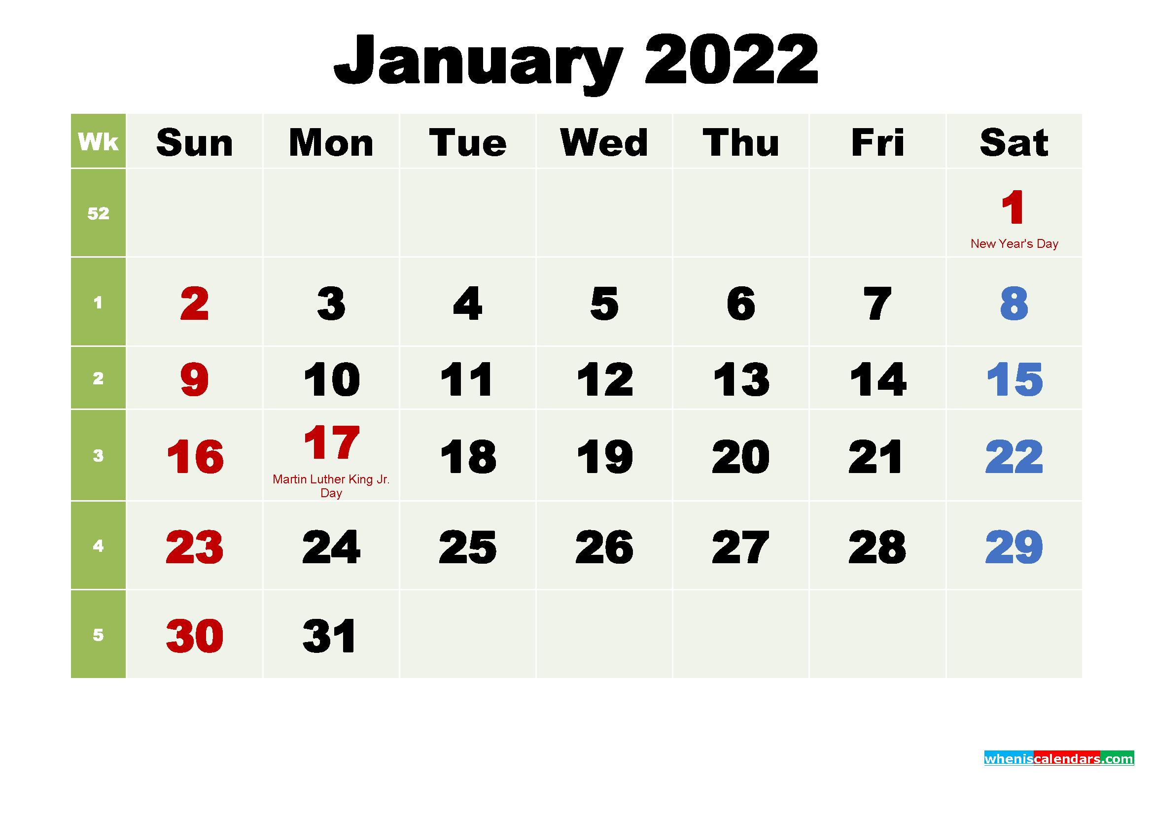 Free January 2022 Desktop Calendar High Resolution
