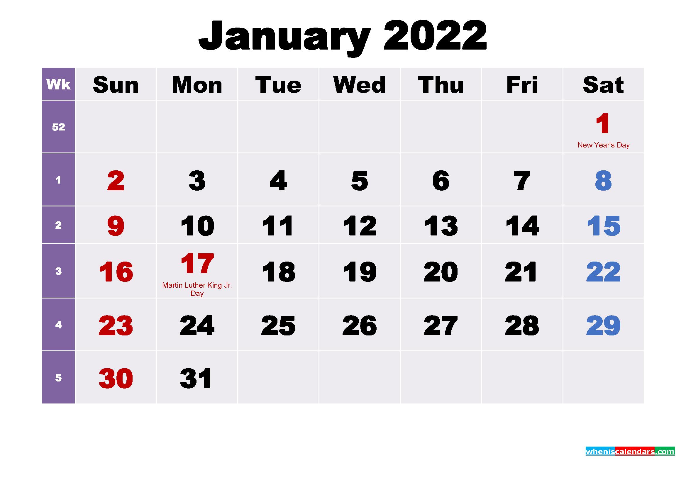 January 2022 Calendar with Holidays Wallpaper