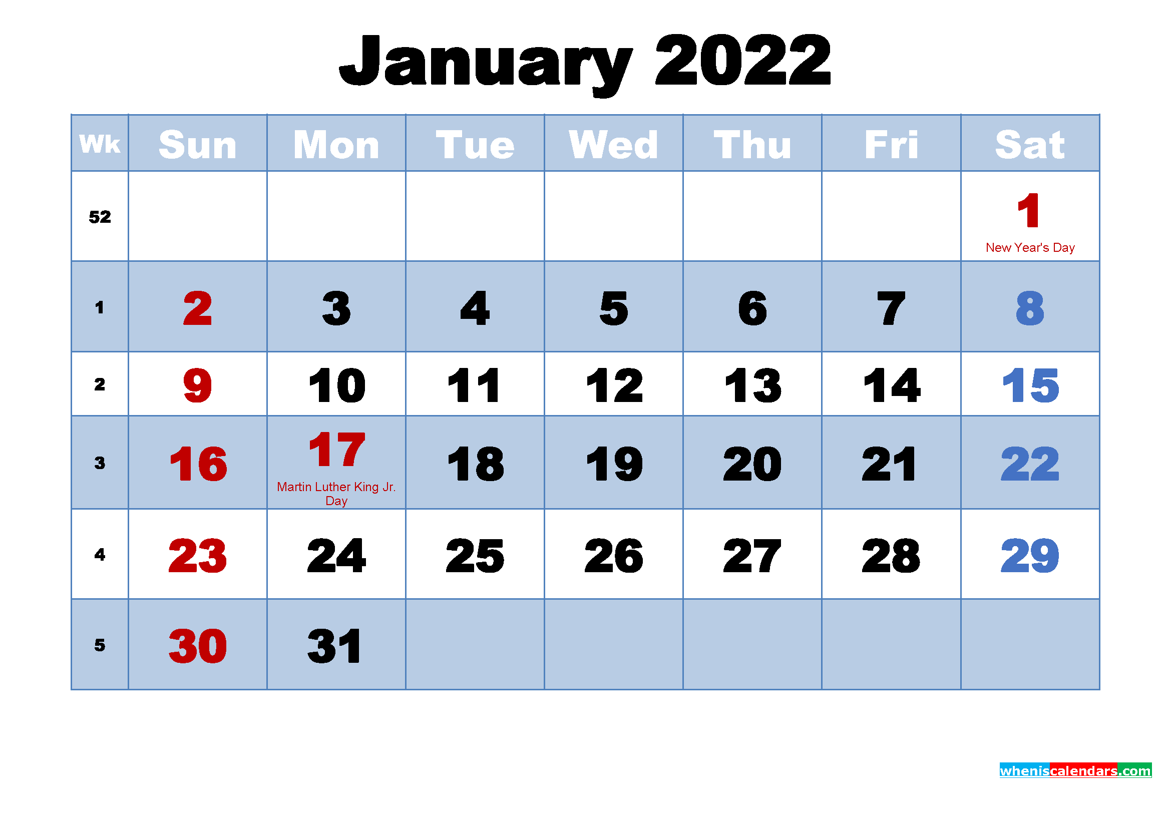 Free Printable 2022 Calendar January as Word, PDF