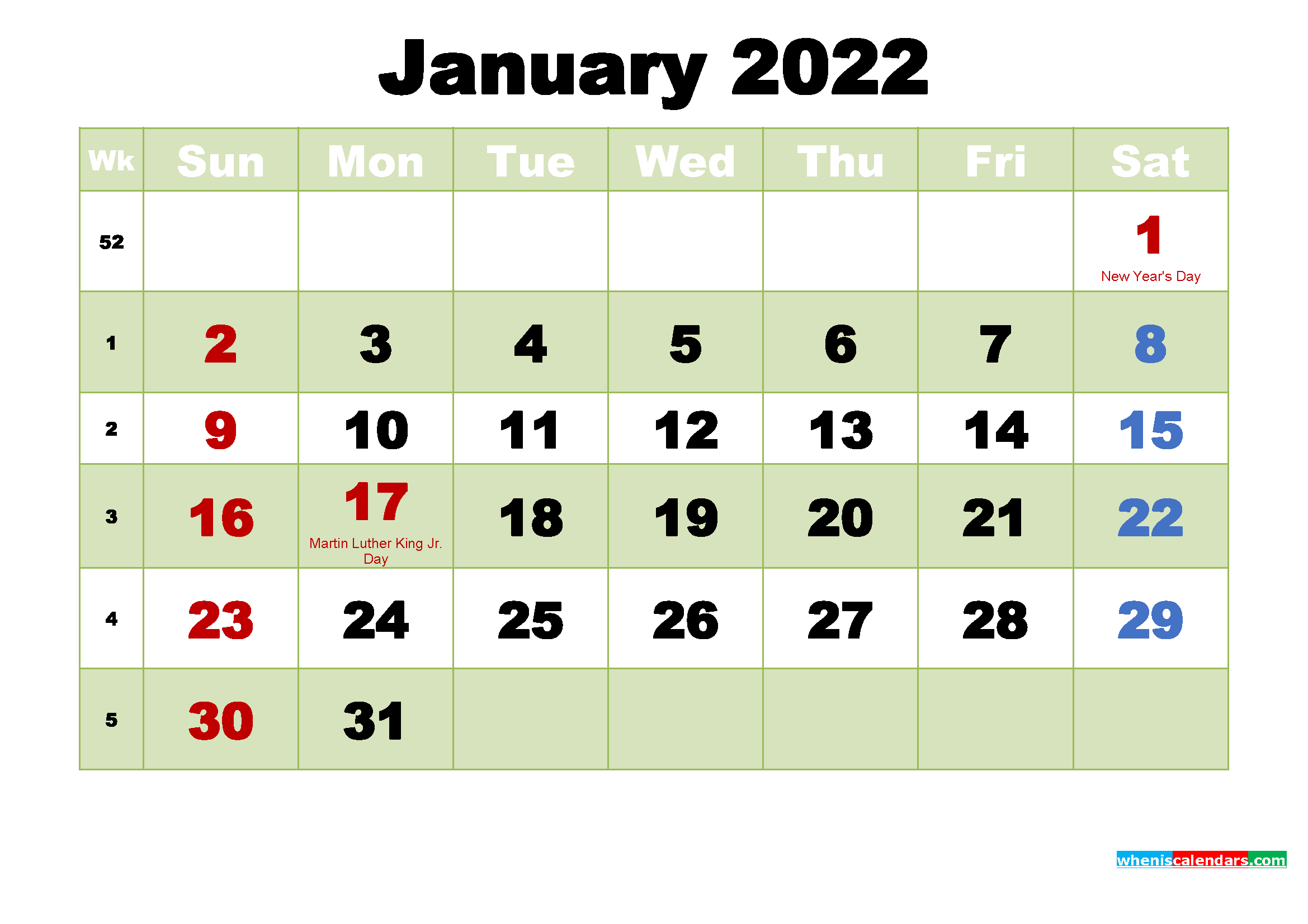 Free January 2022 Printable Calendar Template Word, PDF