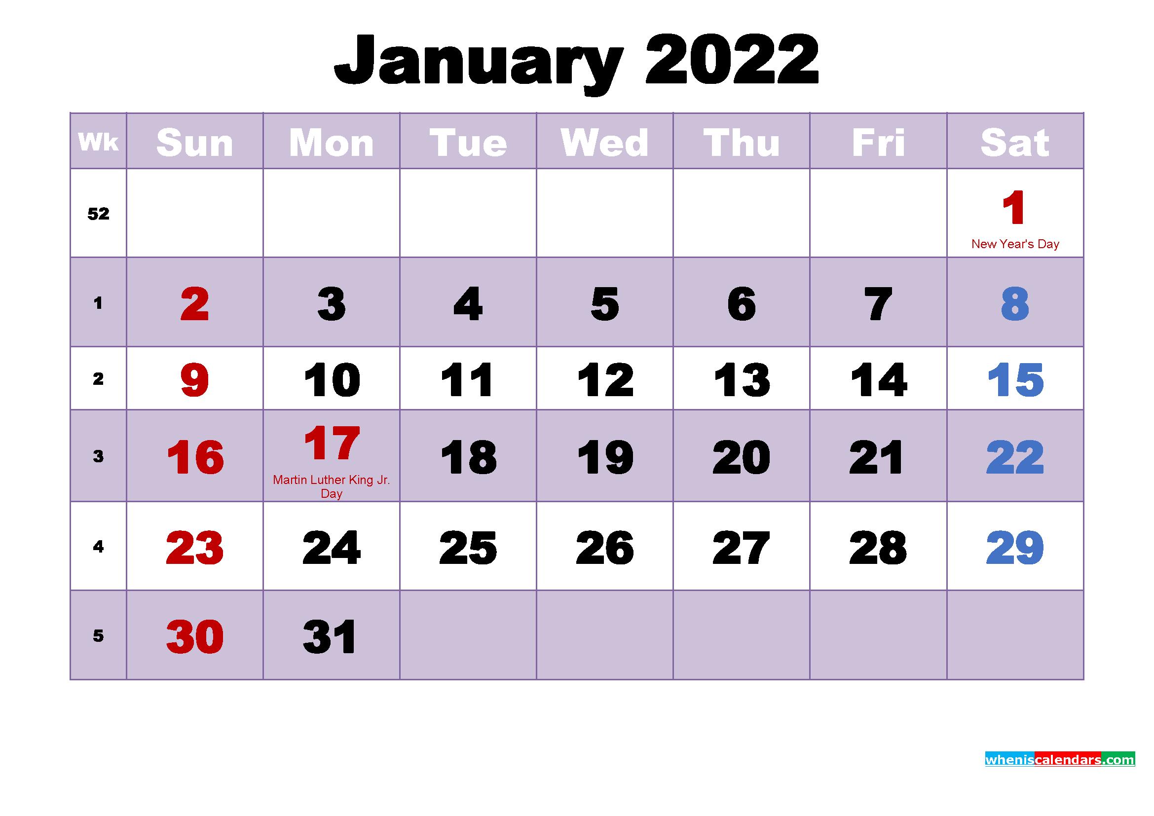 January 2022 Calendar Wallpaper Free Download