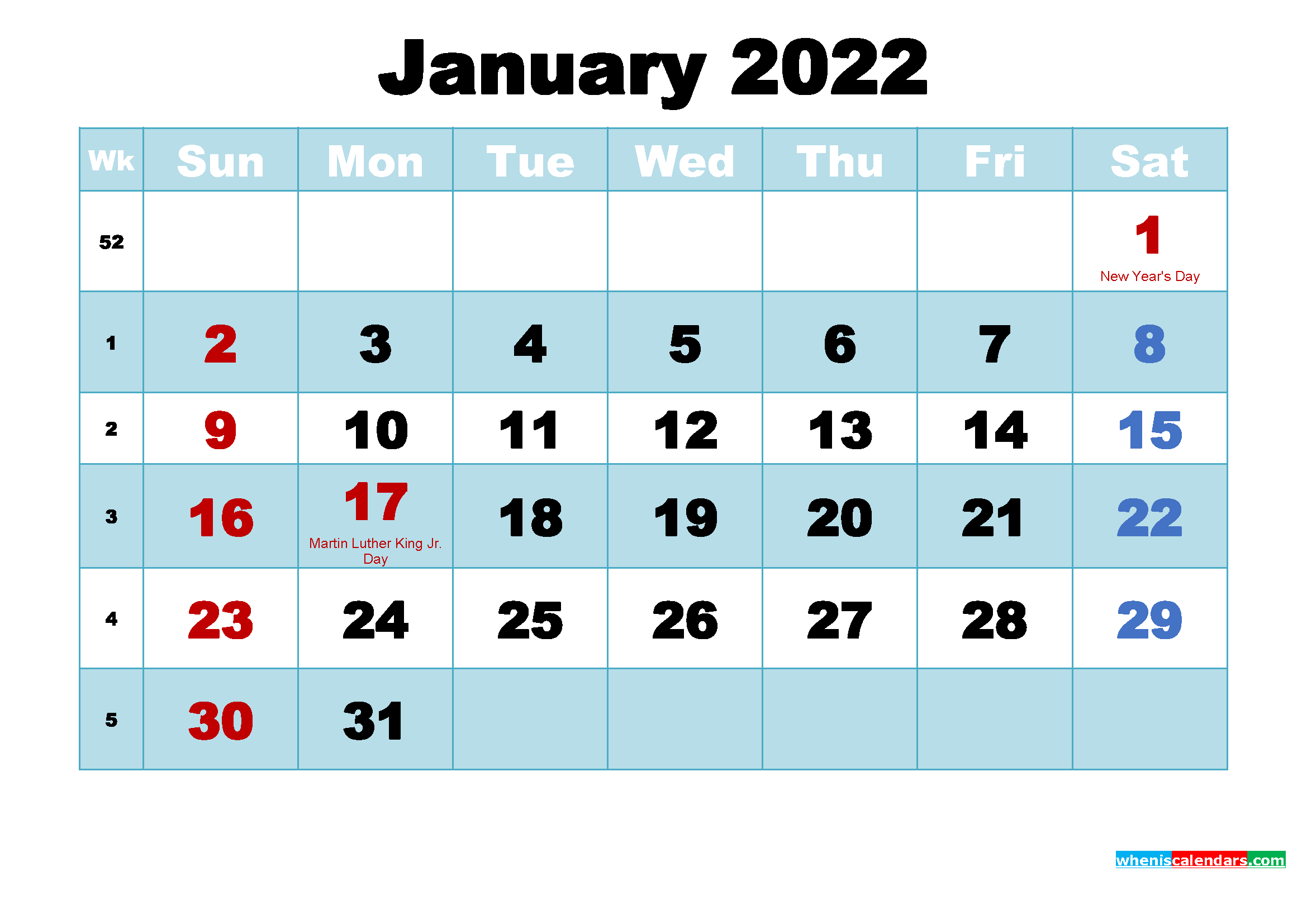 January 2022 Desktop Calendar with Holidays