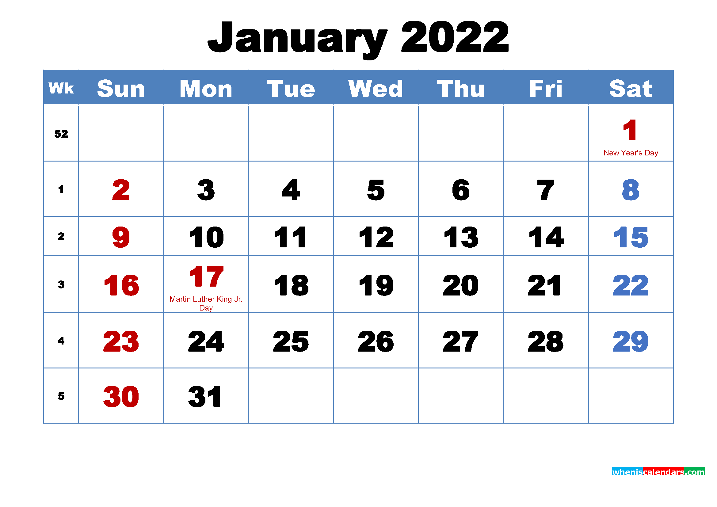 Printable 2022 Calendar by Month January