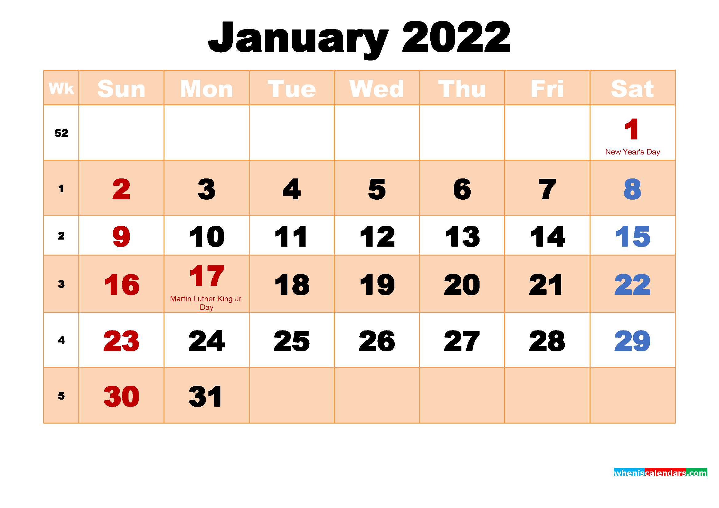Free Printable 2022 Monthly Calendar with Holidays January