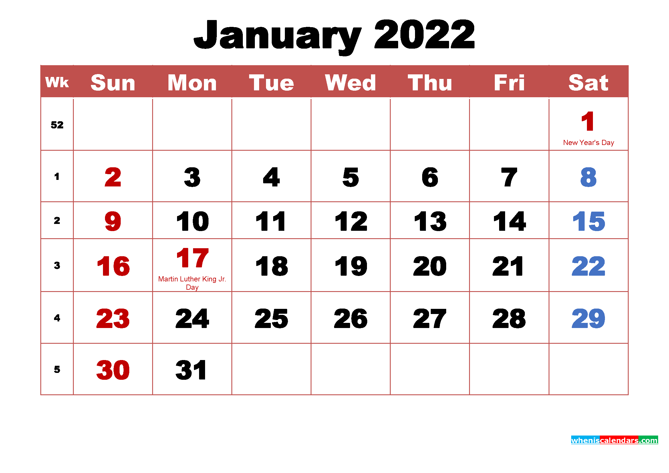 Printable 2022 Calendar with Holidays January