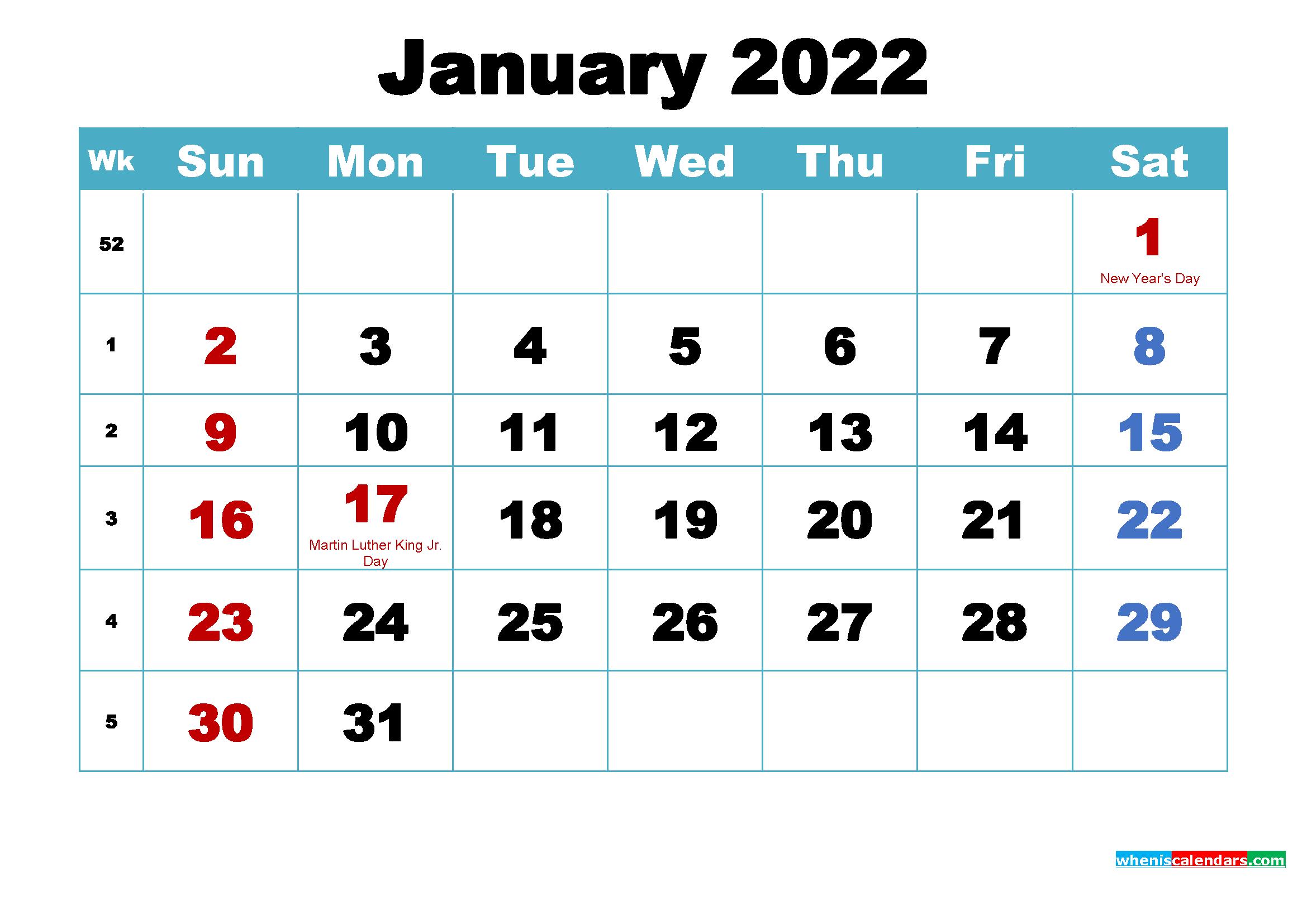 Free Printable 2022 Calendar January as Word, PDF