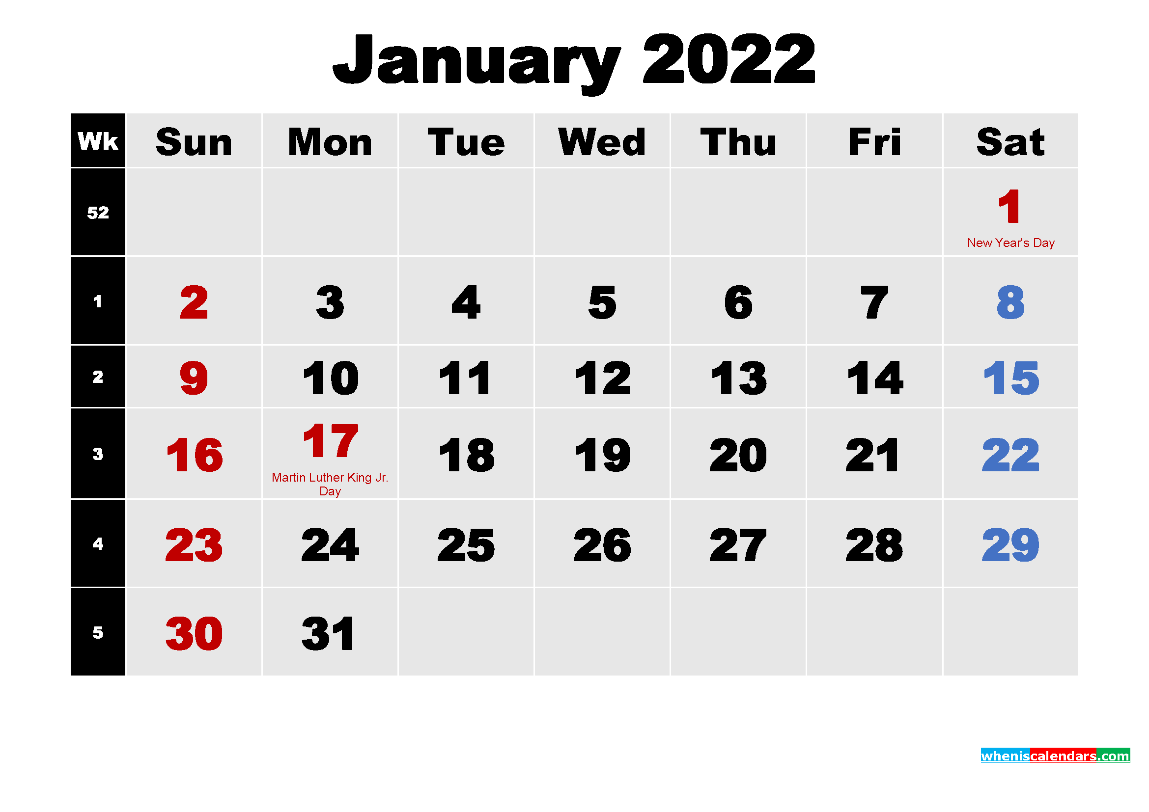 January 2022 Calendar with Holidays Wallpaper