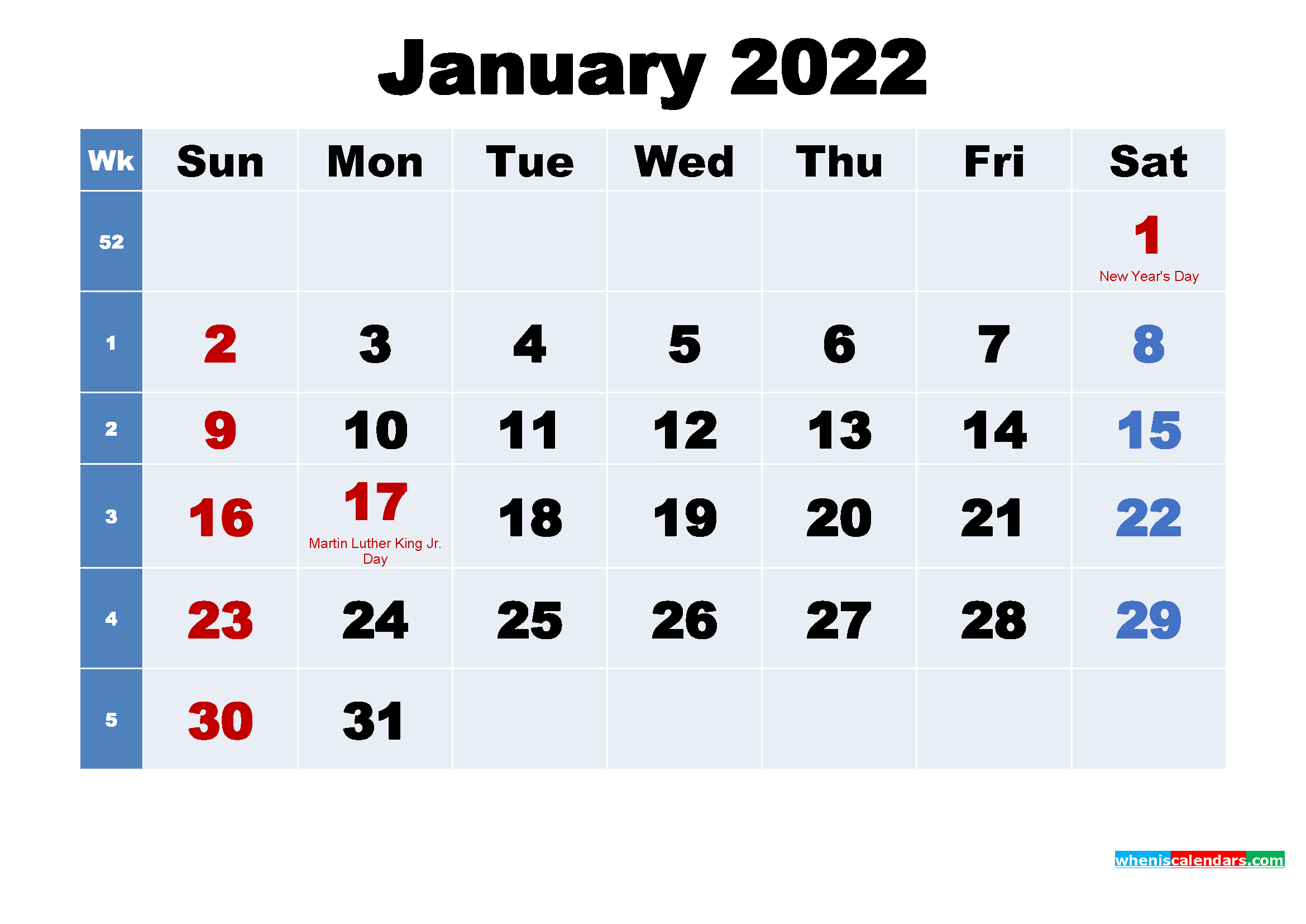 Free Printable 2022 Calendar with Holidays January