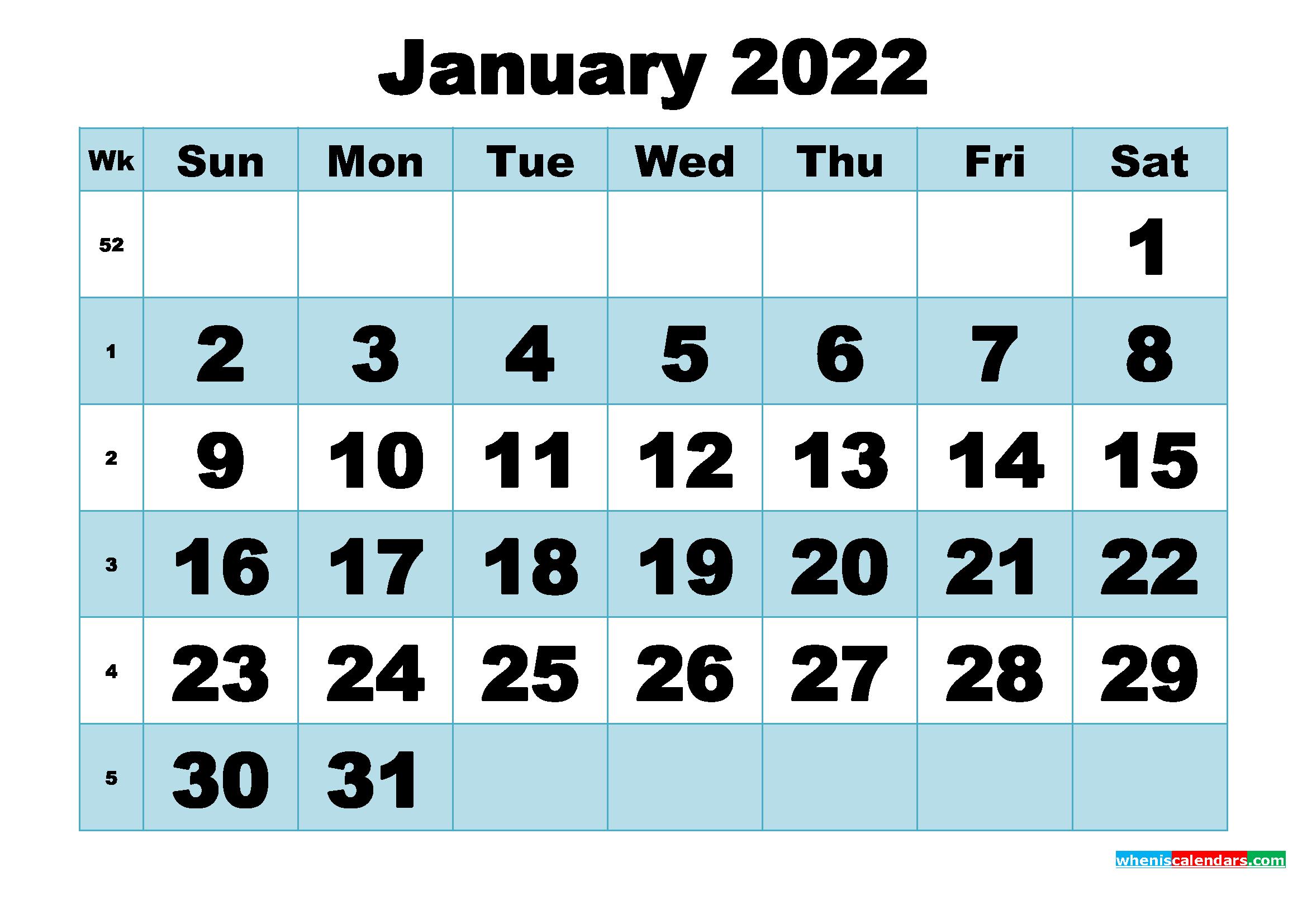 Free Printable January 2022 Calendar Word, PDF, Image ...