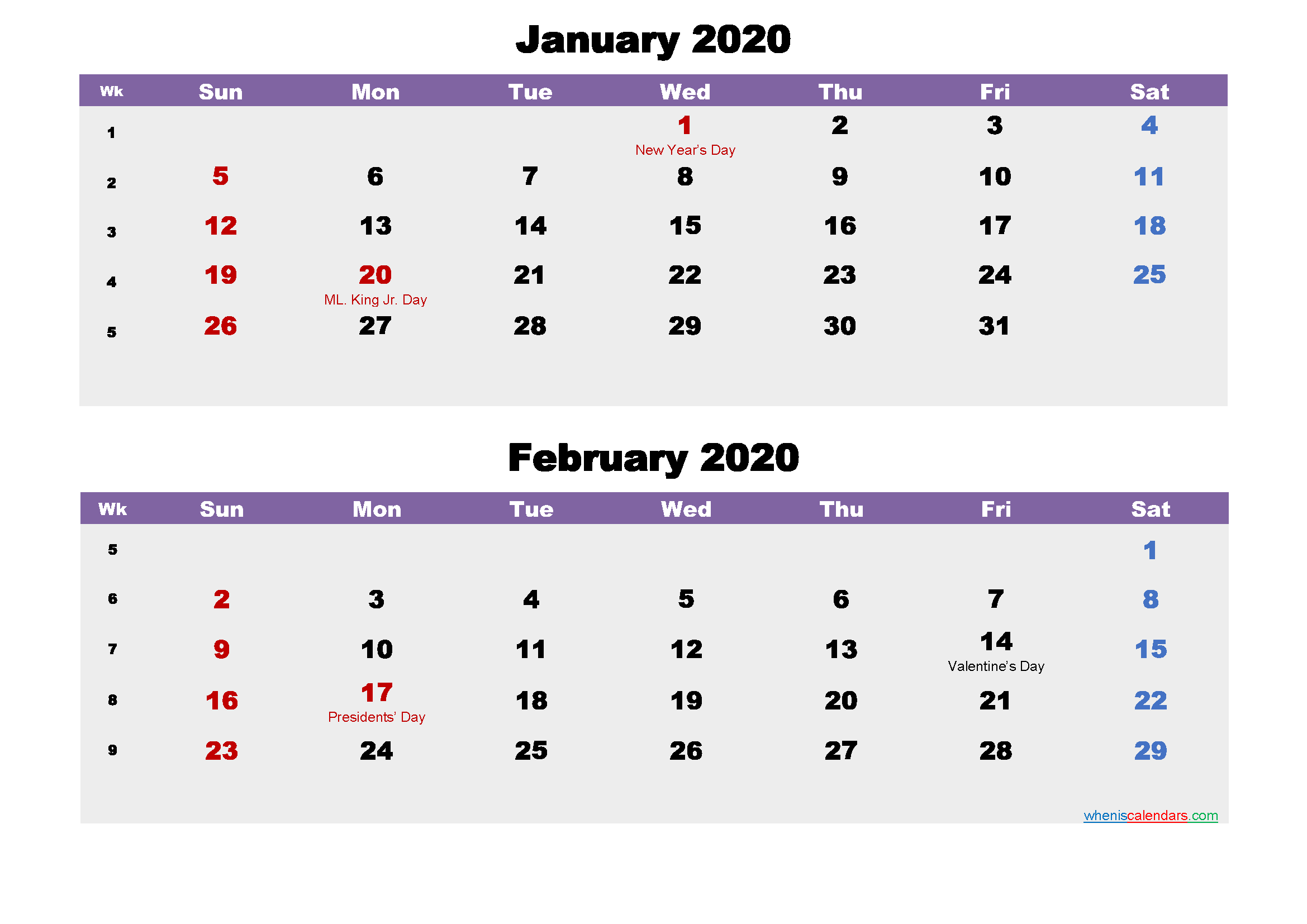 Calendar for January and February 2020 Word, PDF