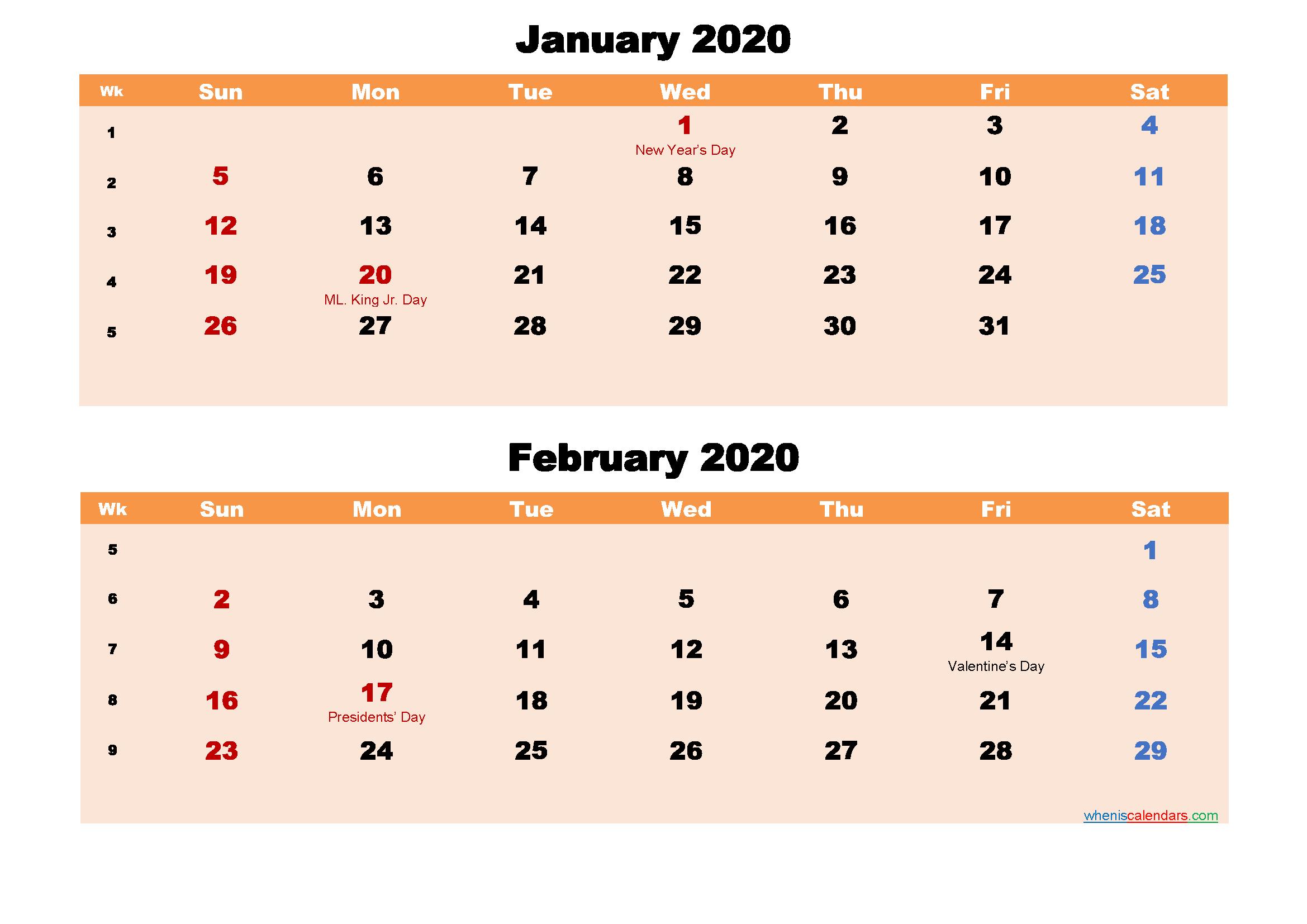 January and February Calendar 2020 Printable Word, PDF