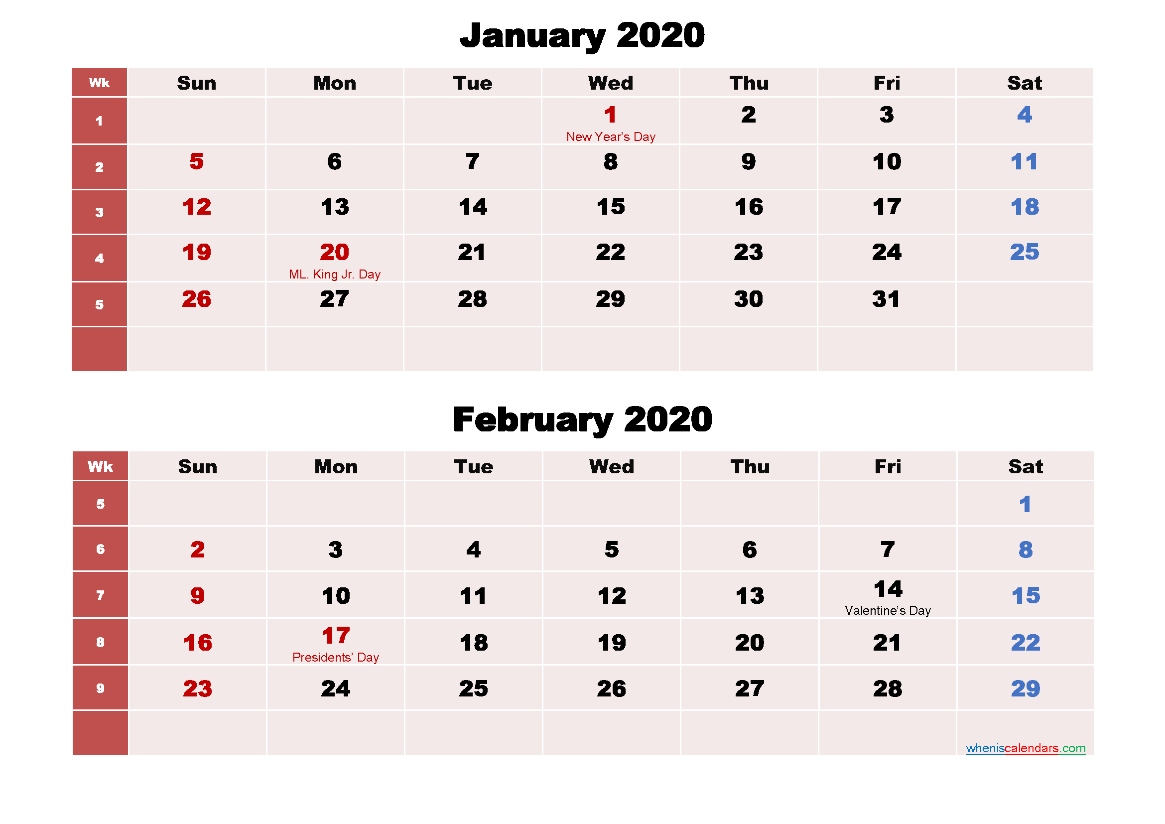 Printable Calendar January and February 2020 Word, PDF