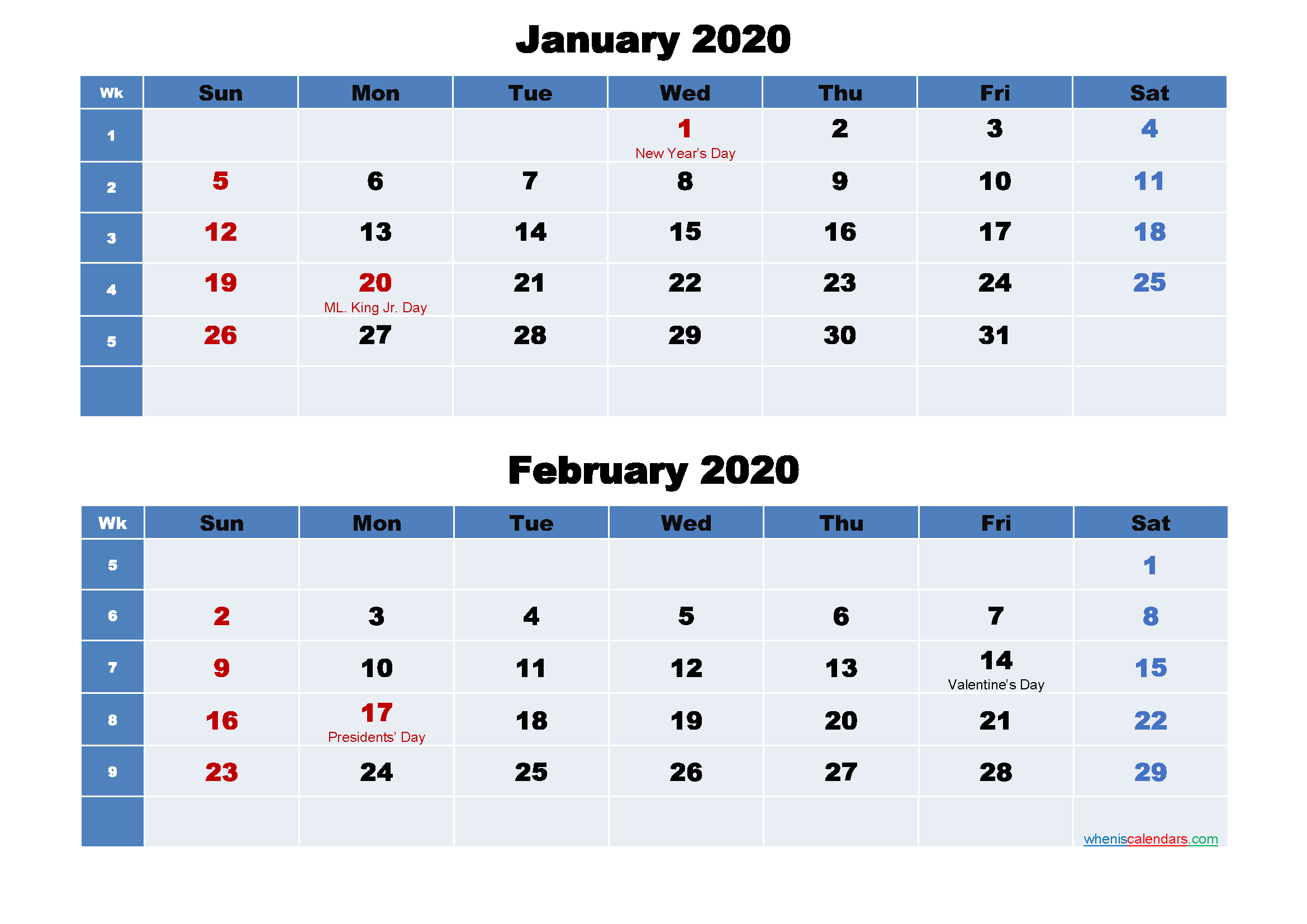 January and February 2020 Calendar with Holidays
