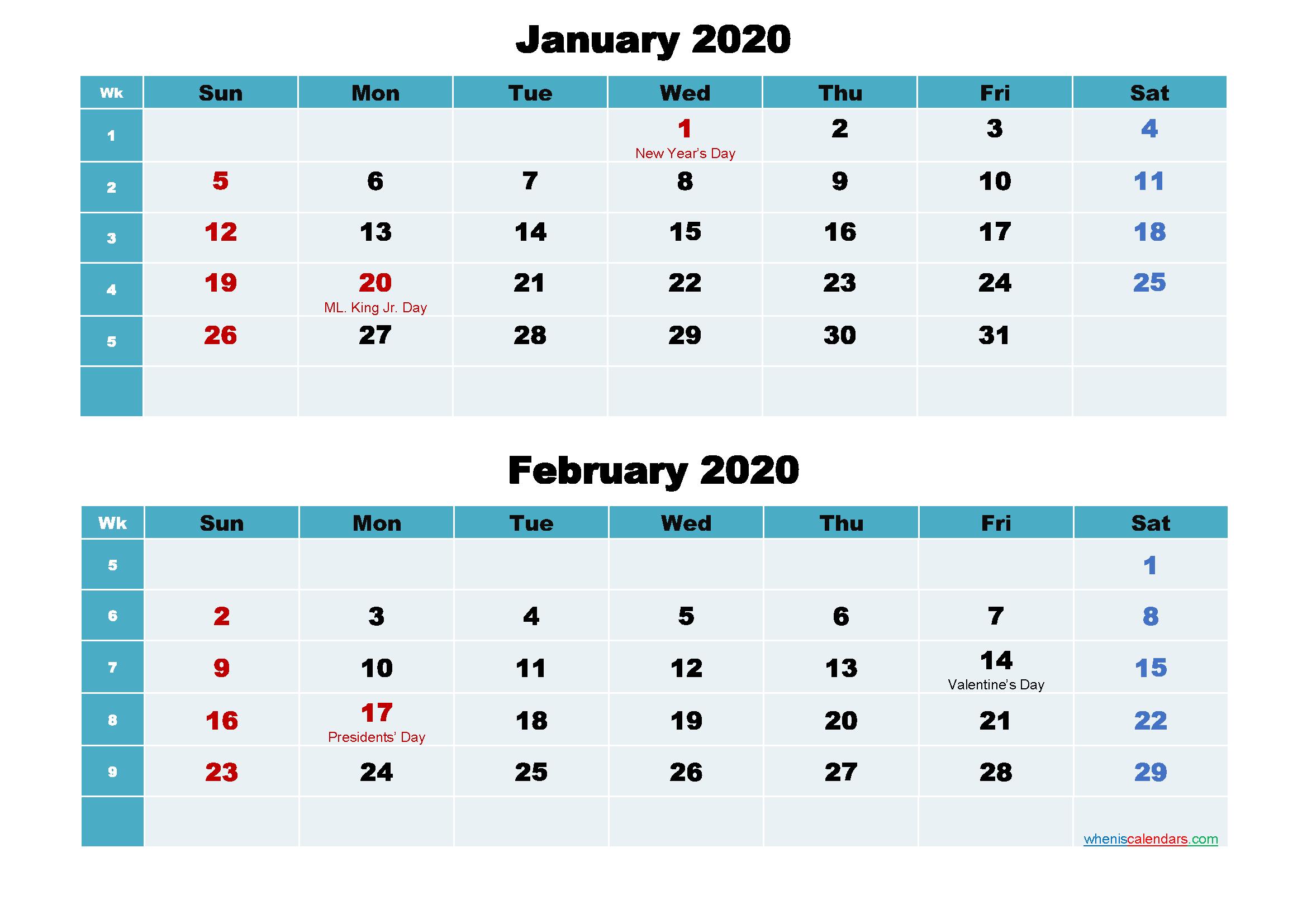 January and February 2020 Calendar with Holidays