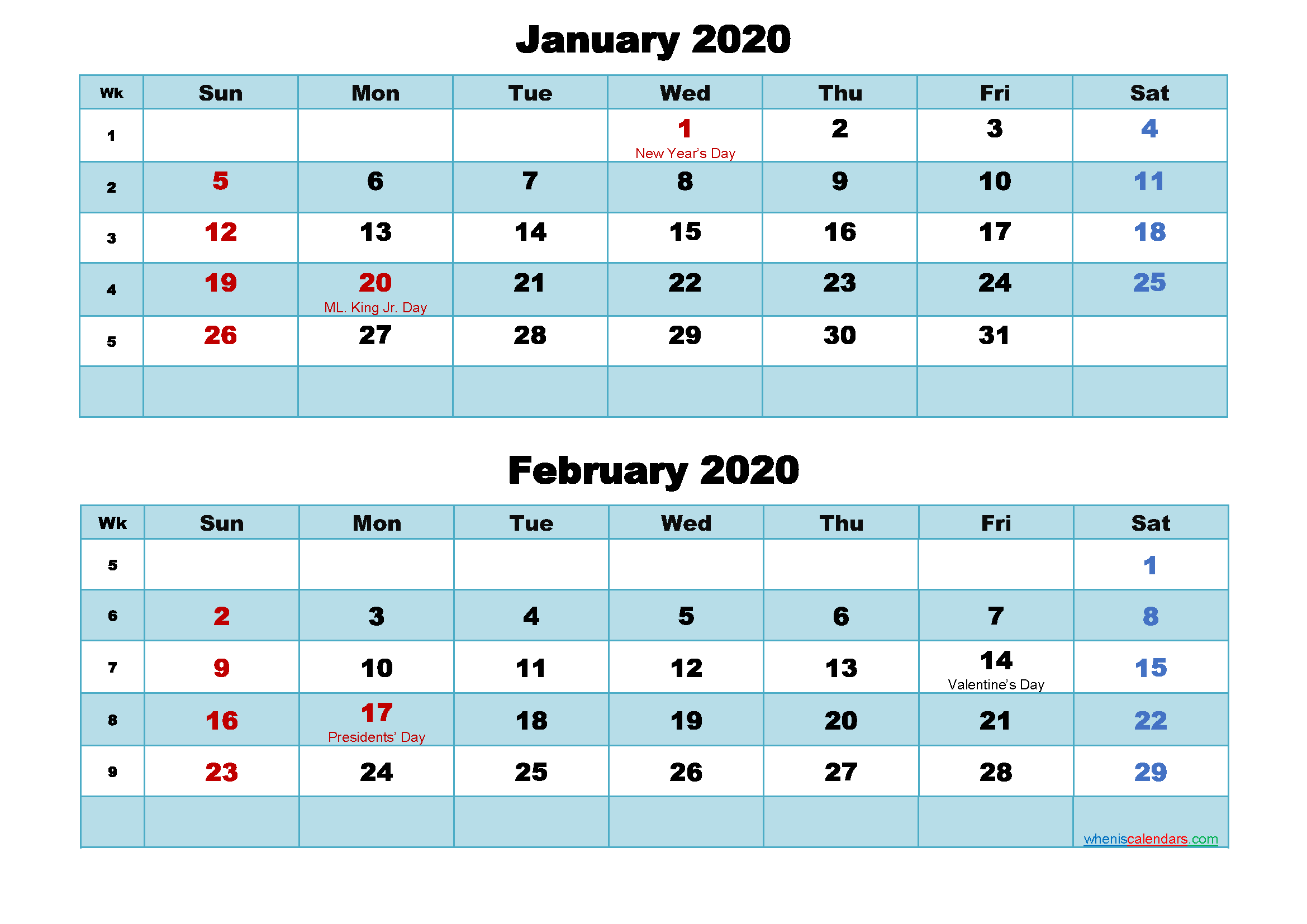 Printable Calendar January and February 2020 Word, PDF