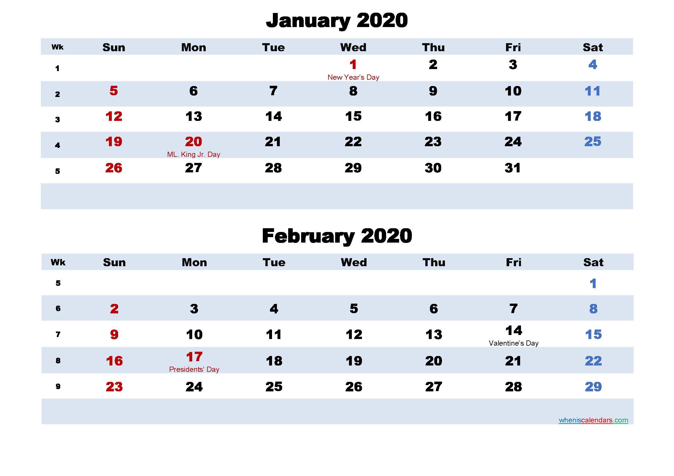 January and February Calendar 2020 Printable Word, PDF