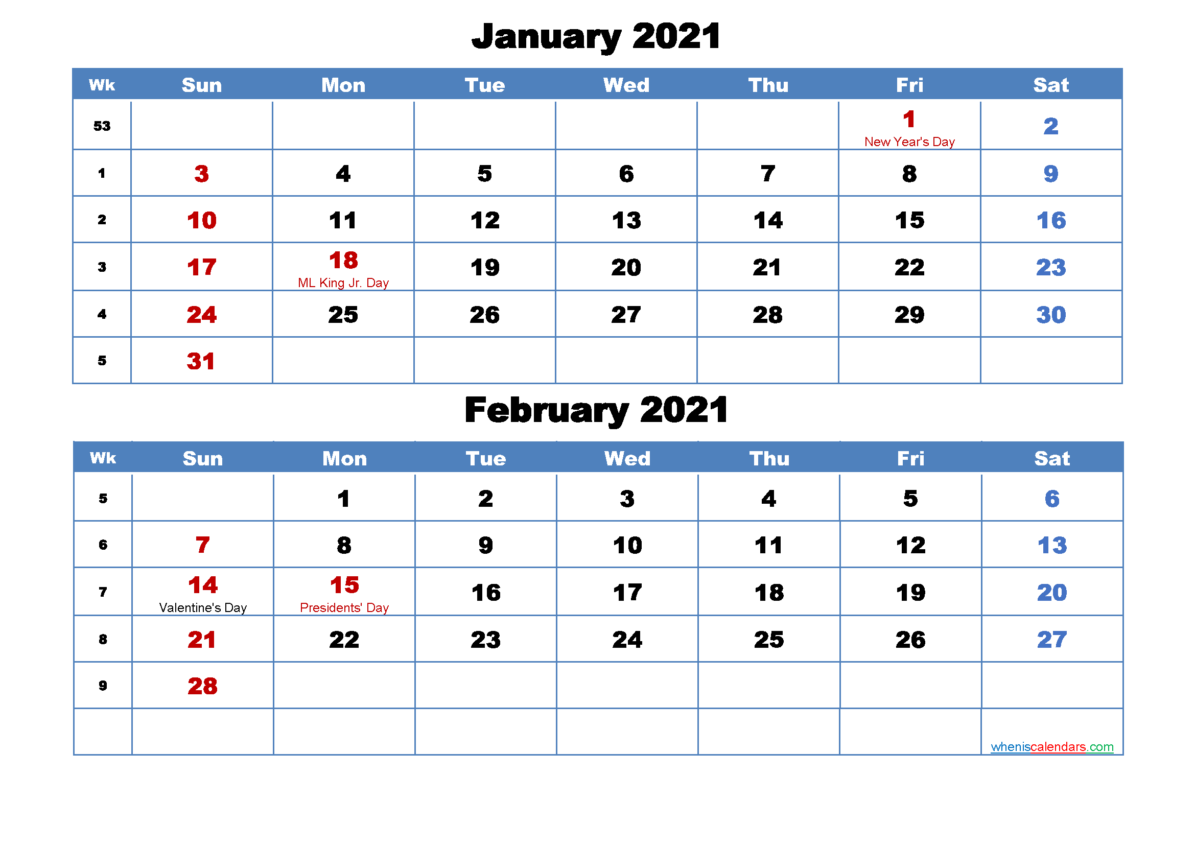 Printable Calendar January and February 2021 Word, PDF