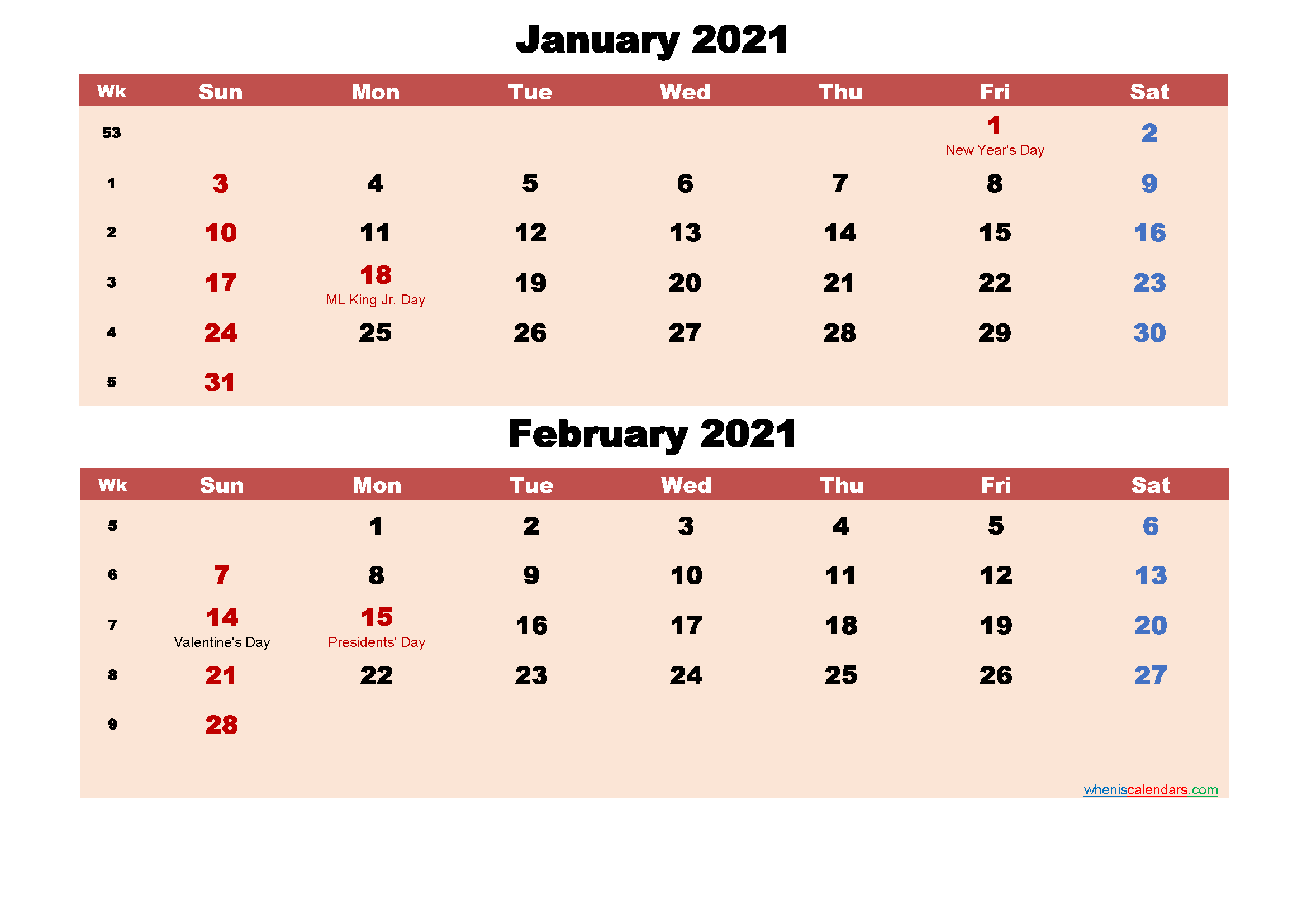 January and February Calendar 2021 Printable Word, PDF