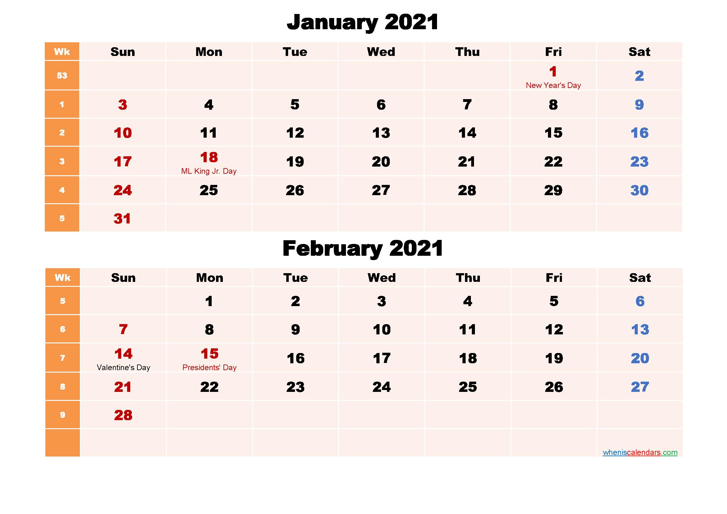 Printable Calendar January and February 2021 Word, PDF