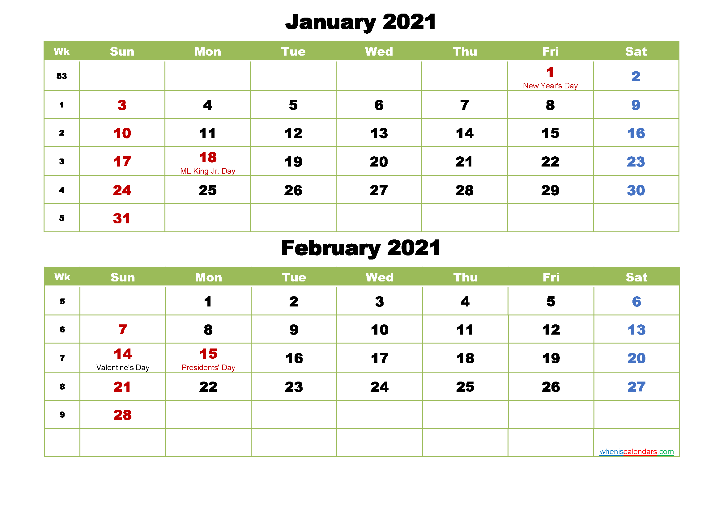 January and February 2021 Calendar with Holidays