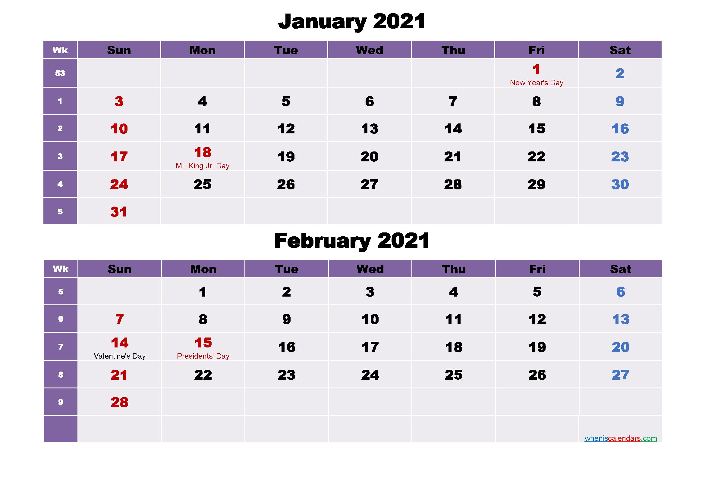 January and February Calendar 2021 Printable Word, PDF
