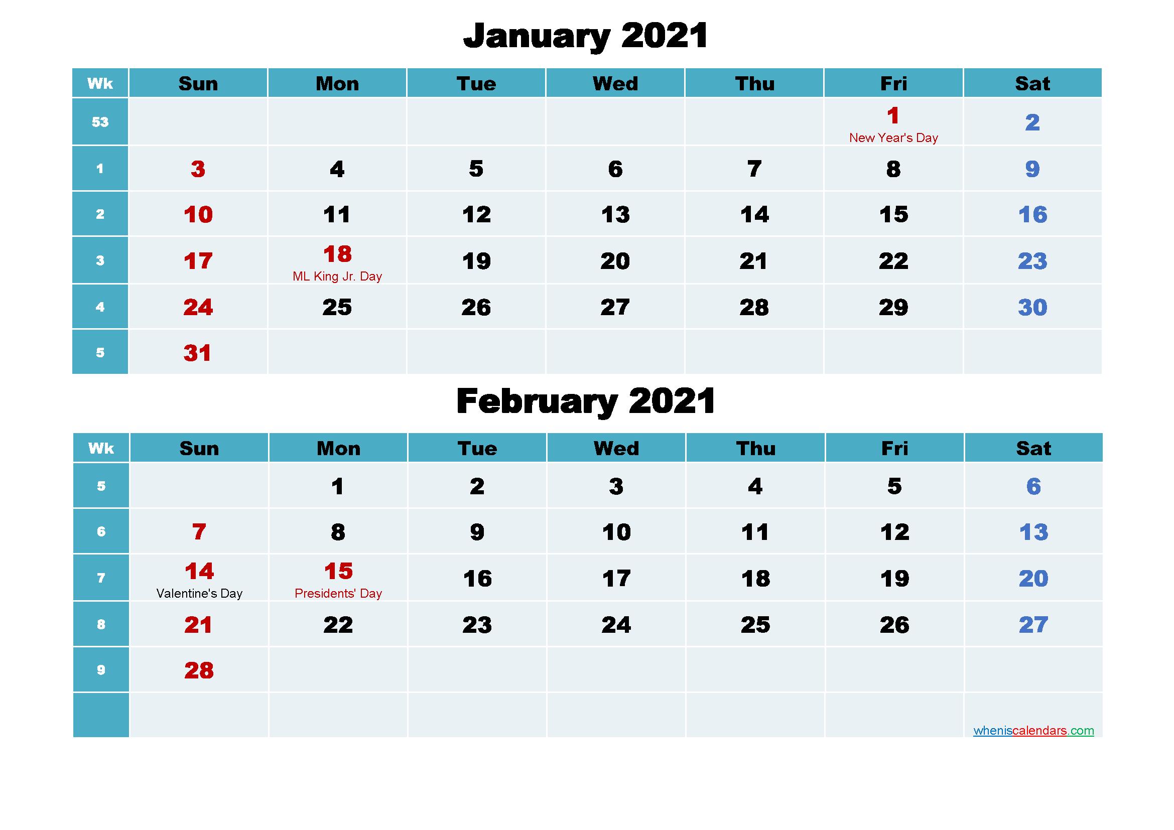 January and February 2021 Calendar with Holidays