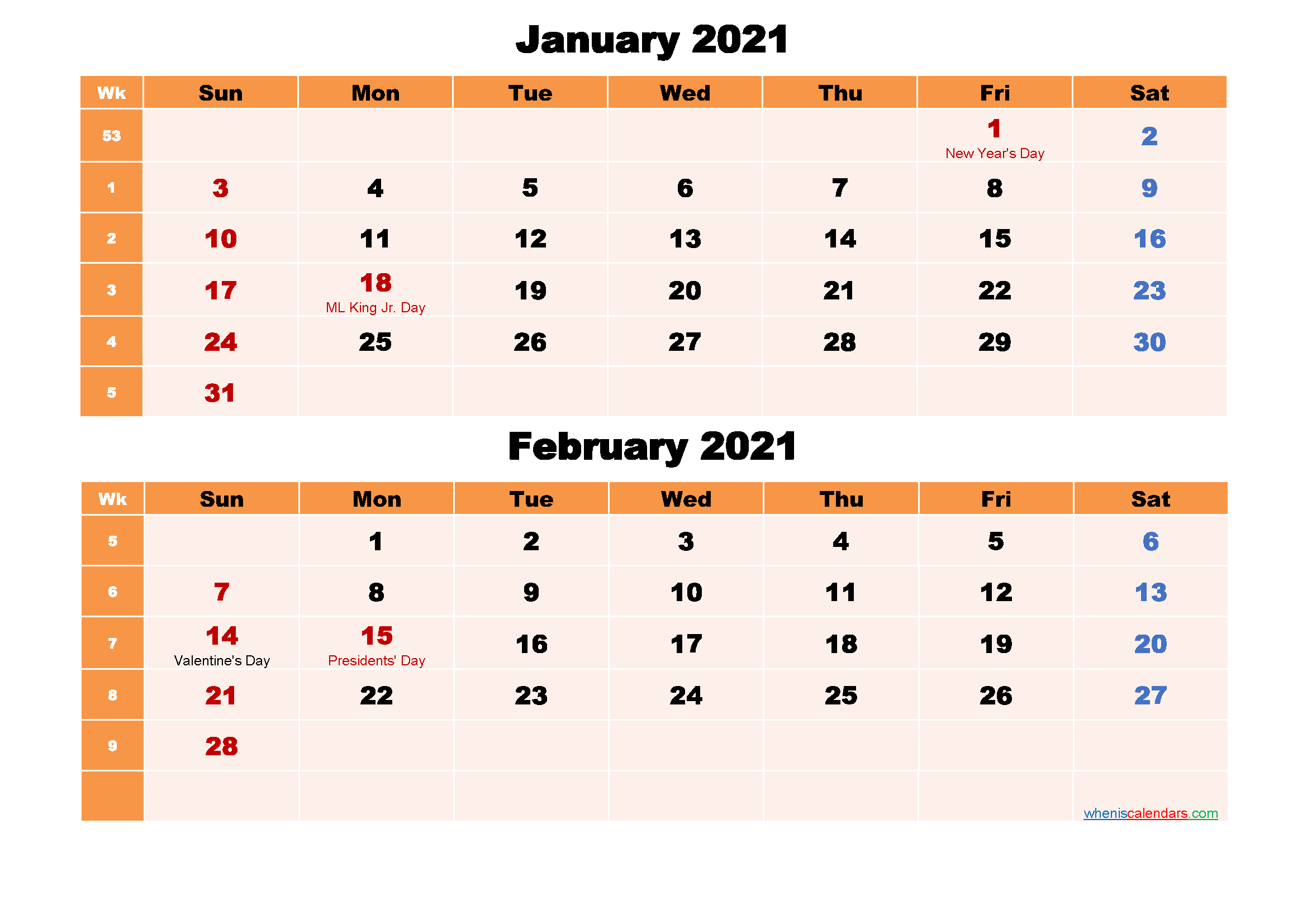 Calendar for January and February 2021 Word, PDF