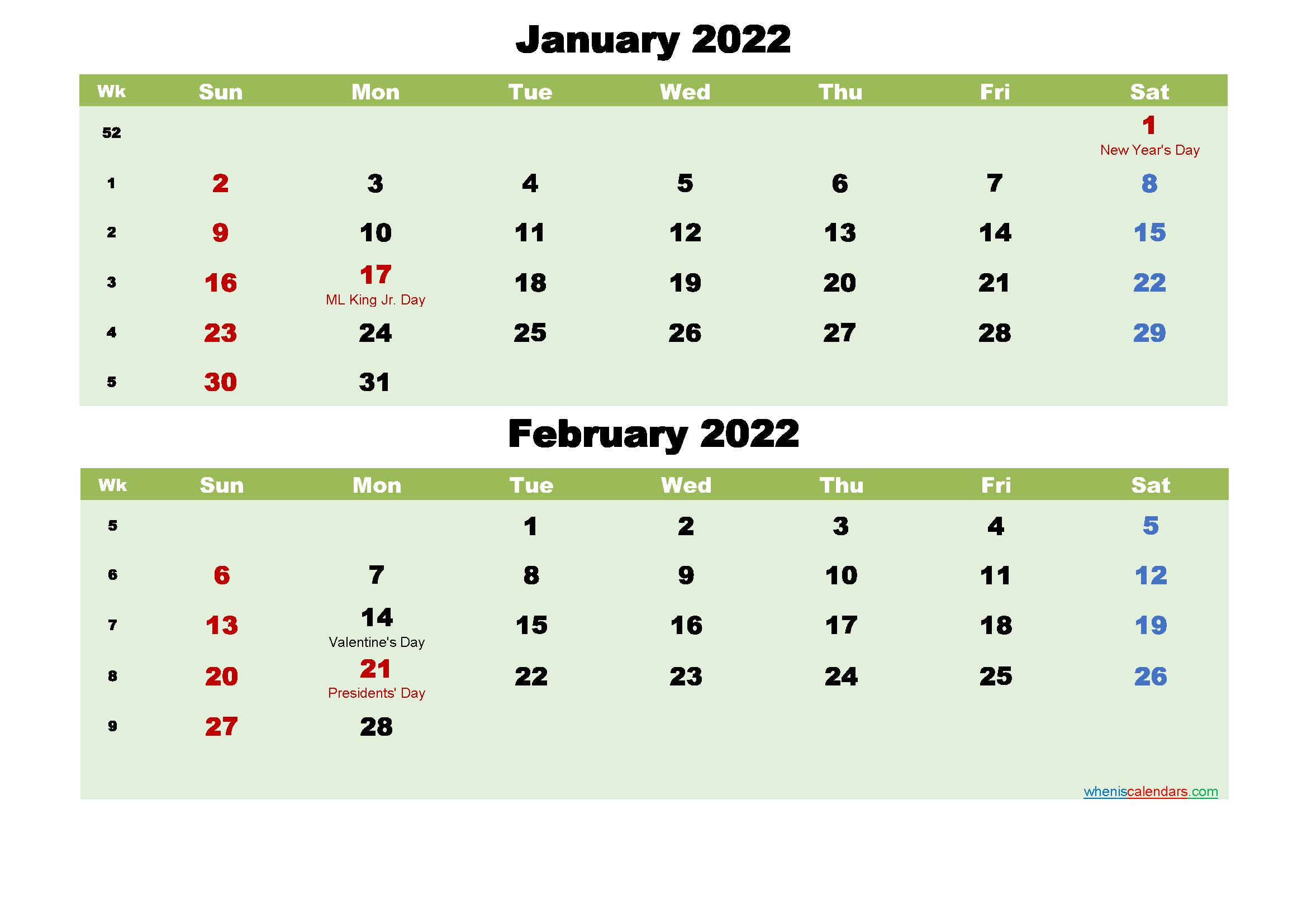 January and February 2022 Calendar with Holidays