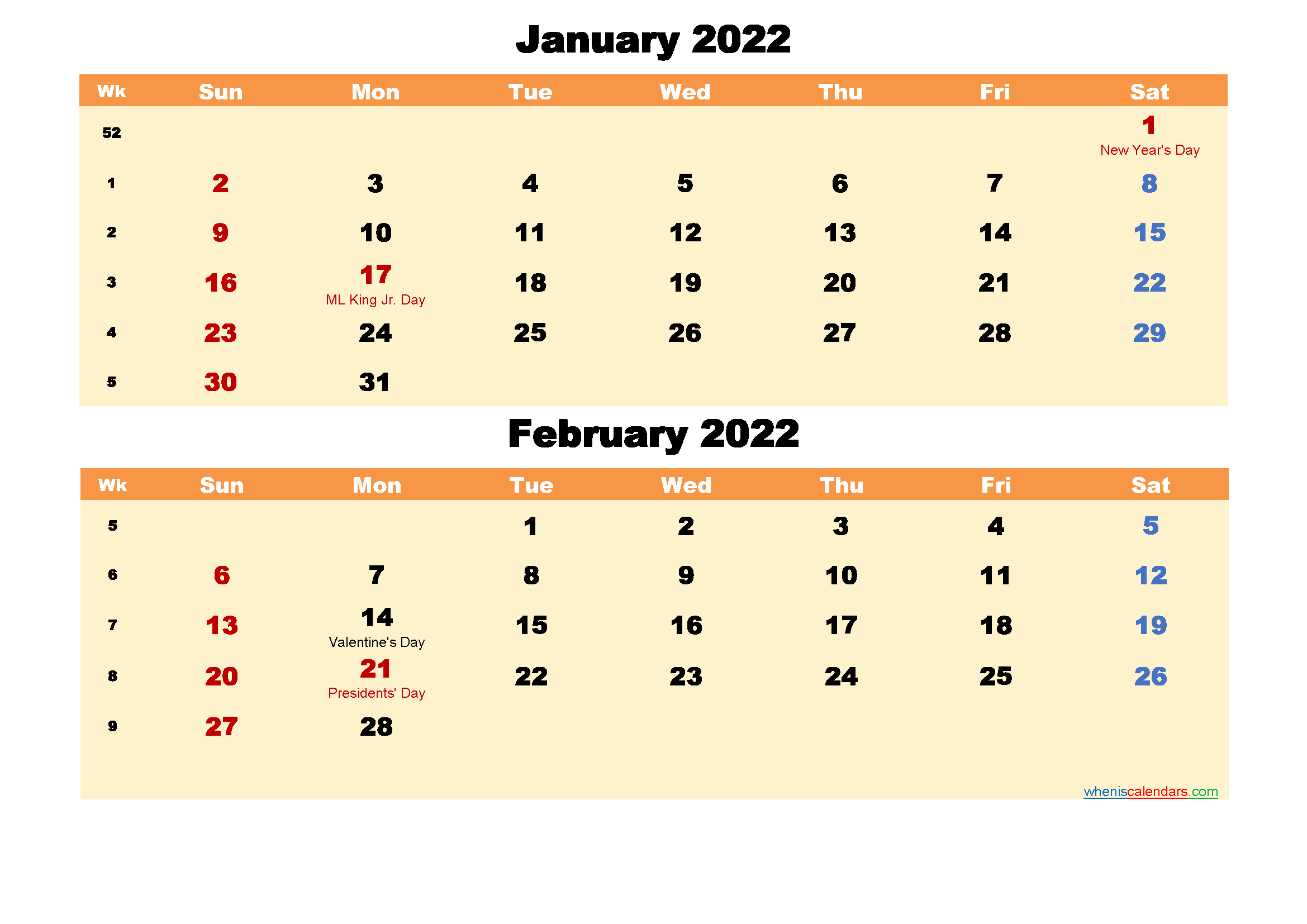 January and February Calendar 2022 Printable Word, PDF