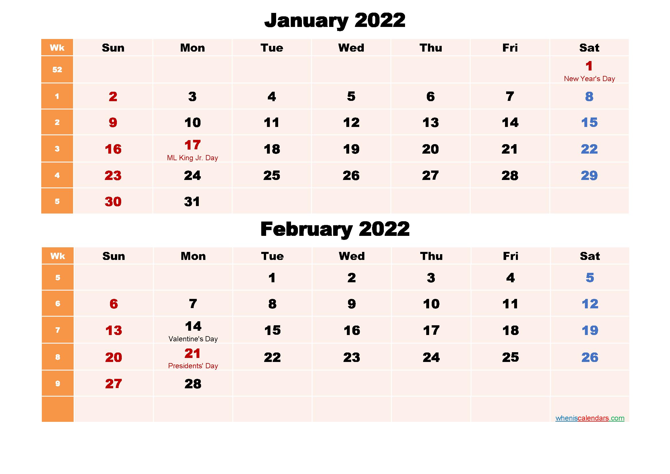 Printable Calendar January and February 2022 Word, PDF