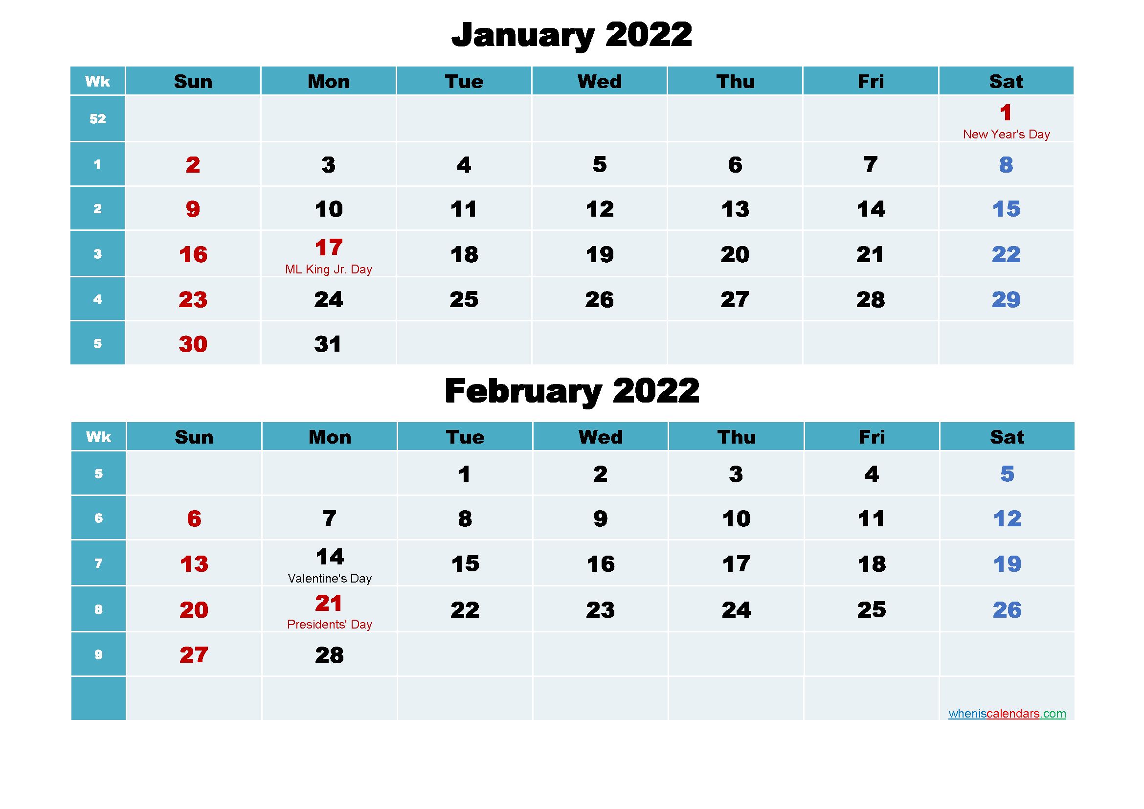 January and February 2022 Calendar with Holidays