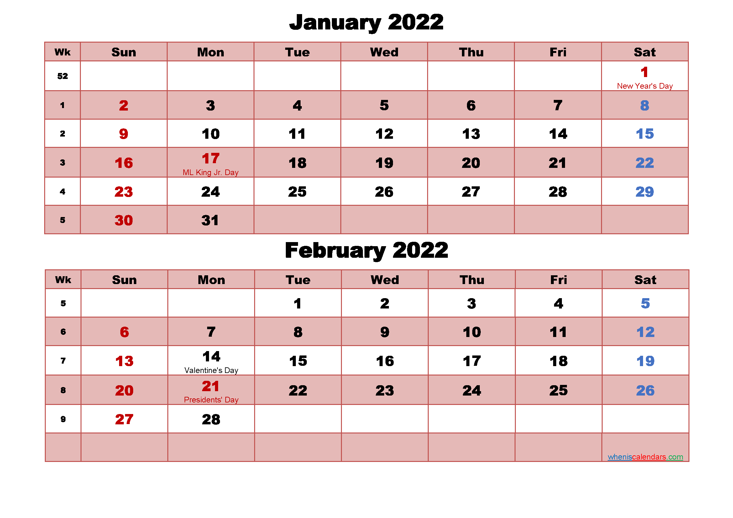 January and February Calendar 2022 Printable Word, PDF