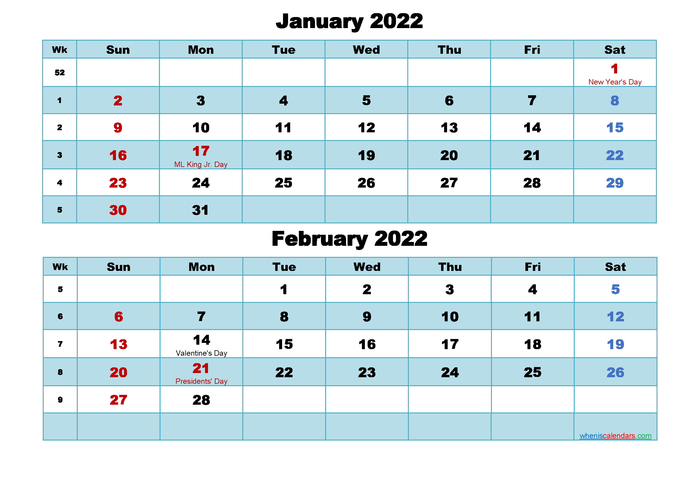 Printable Calendar January and February 2022 Word, PDF