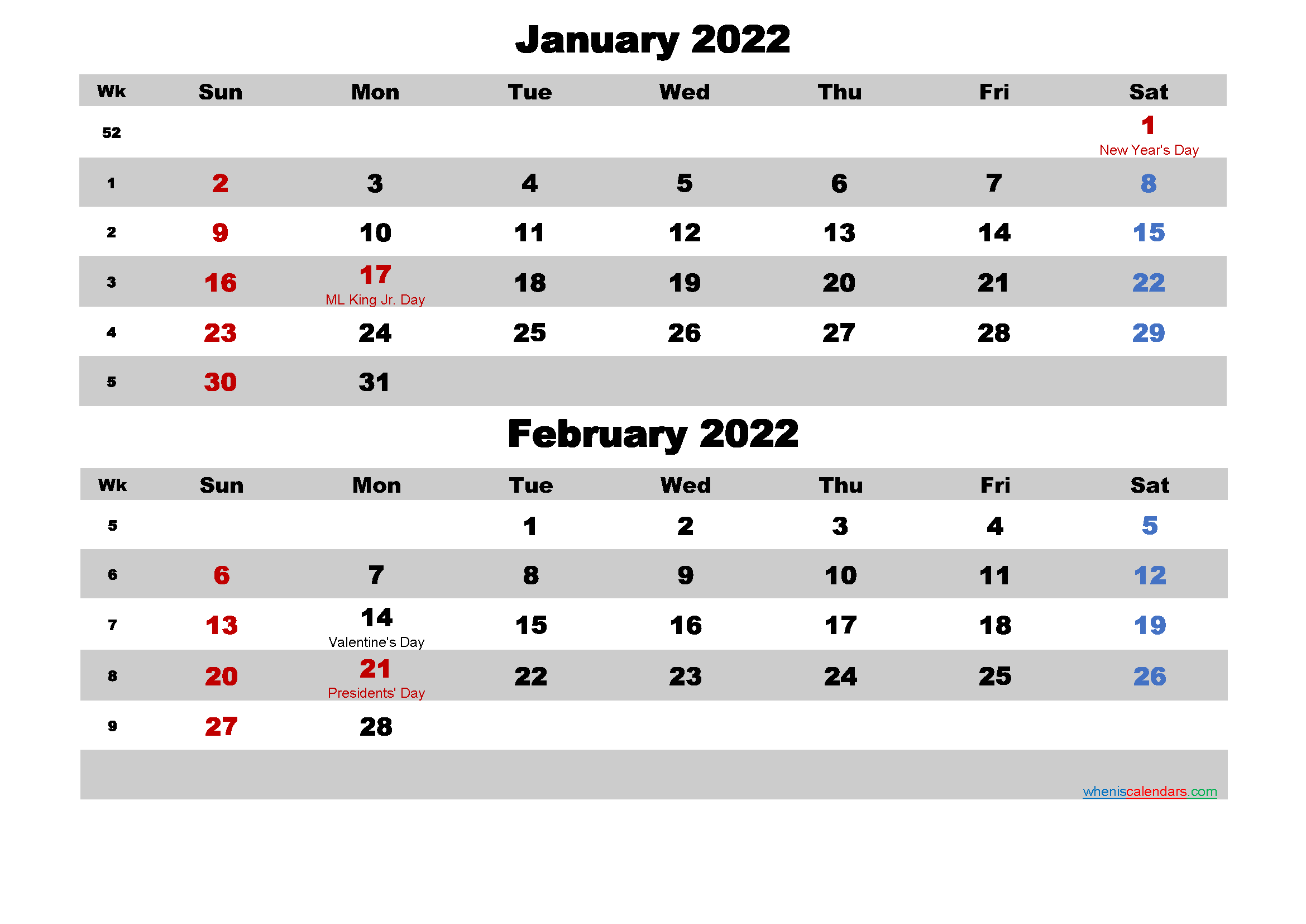 Calendar for January and February 2022 Word, PDF