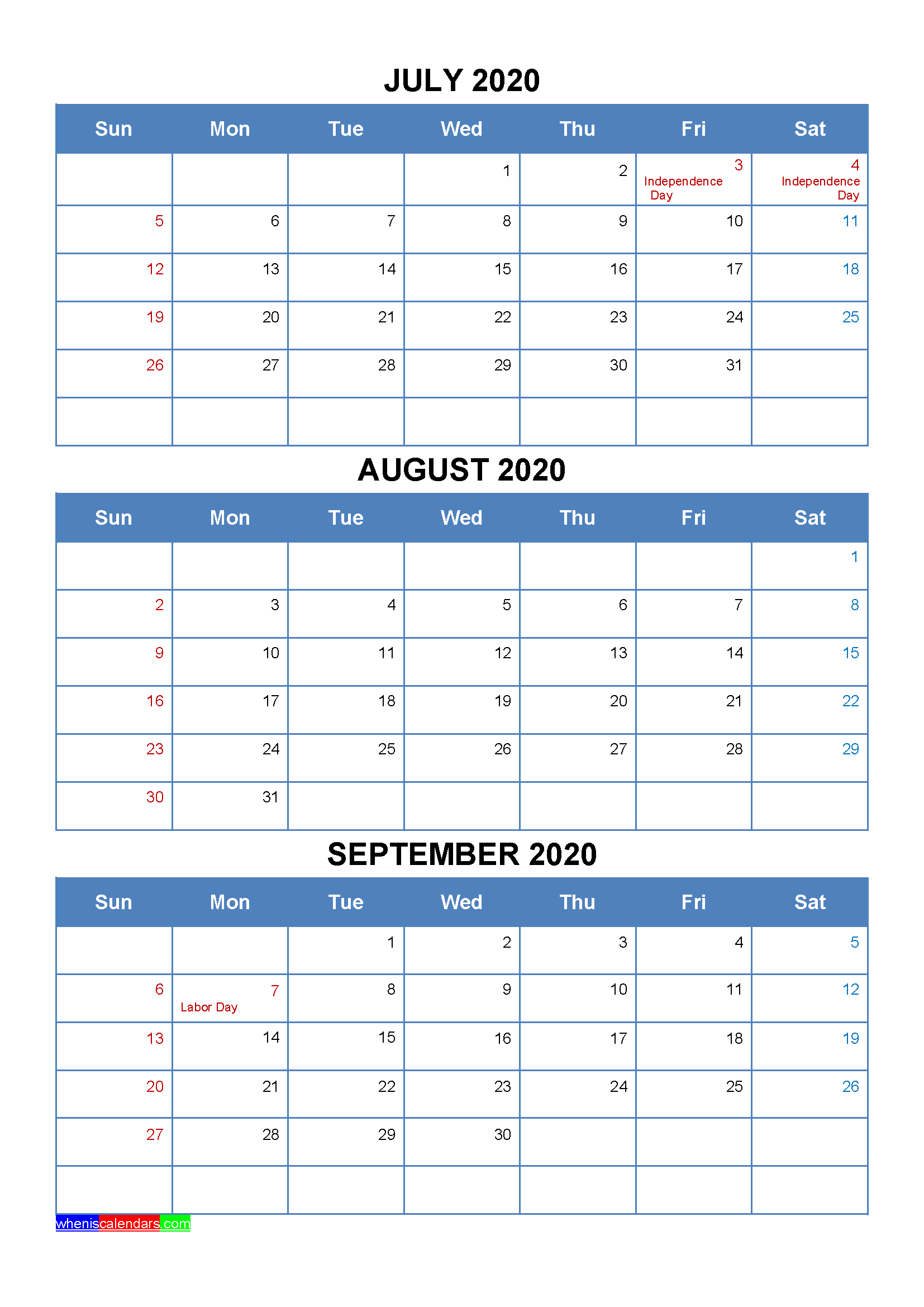 Free Printable July August September 2020 Calendar with Holidays as Word, PDF