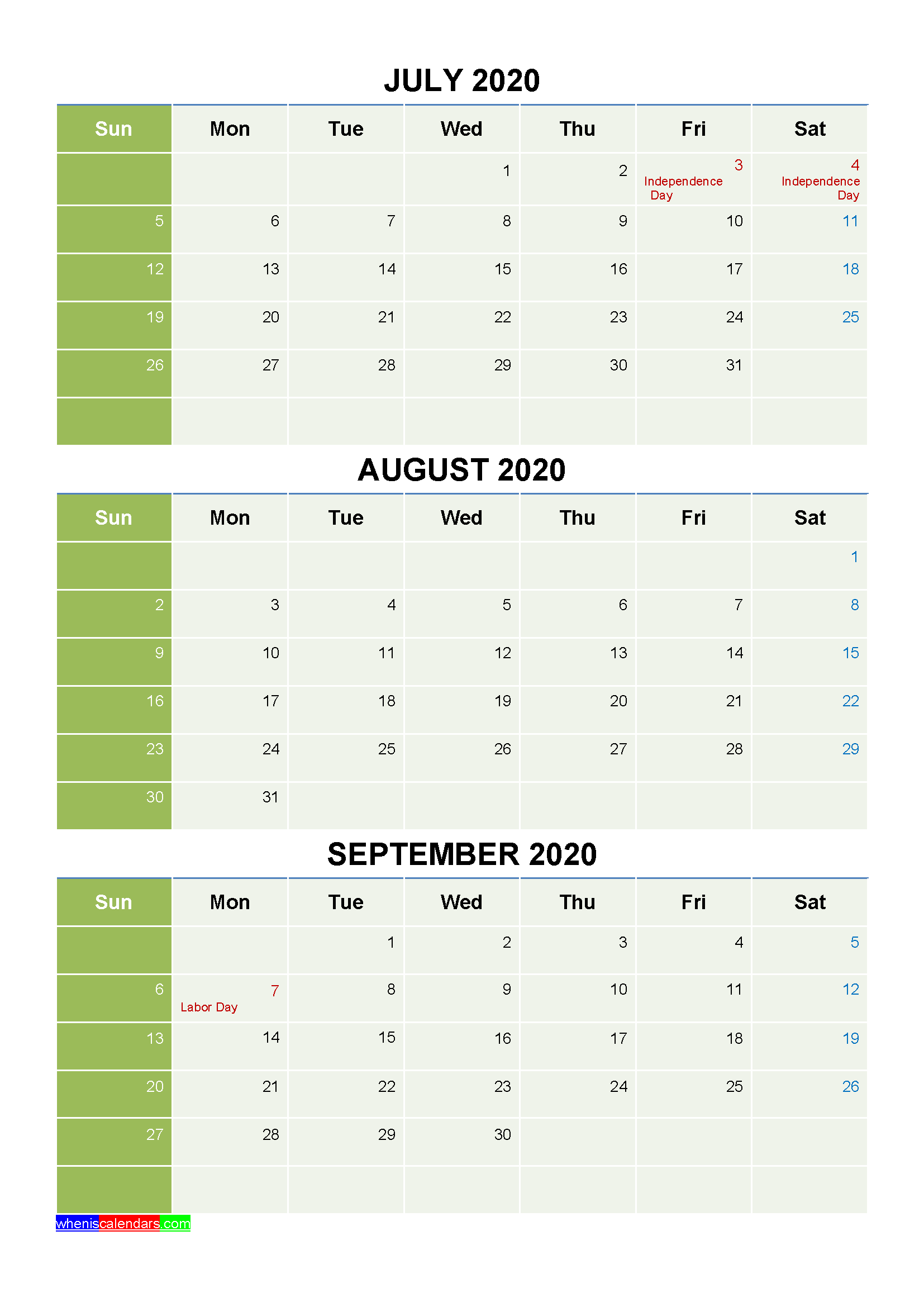 Free Calendar July August September 2020 with Holidays