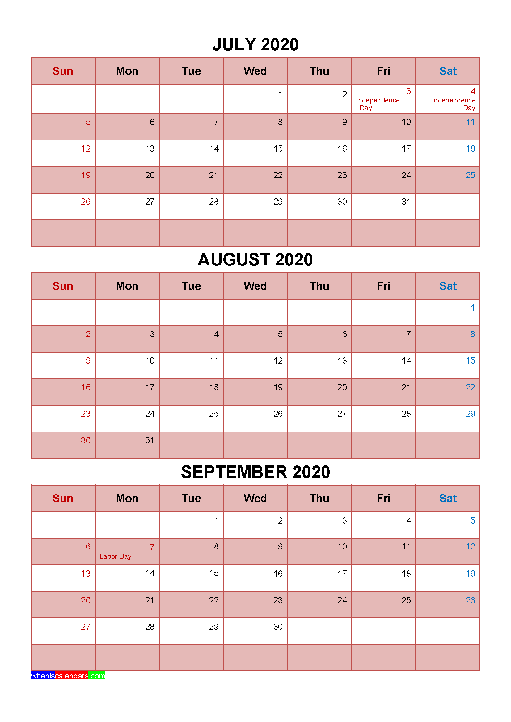 Printable July August September 2020 Calendar with Holidays