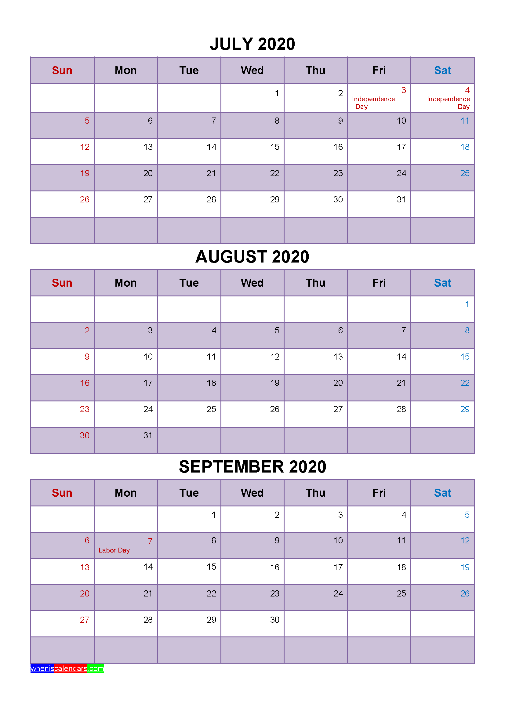 July August September 2020 Calendar with Holidays