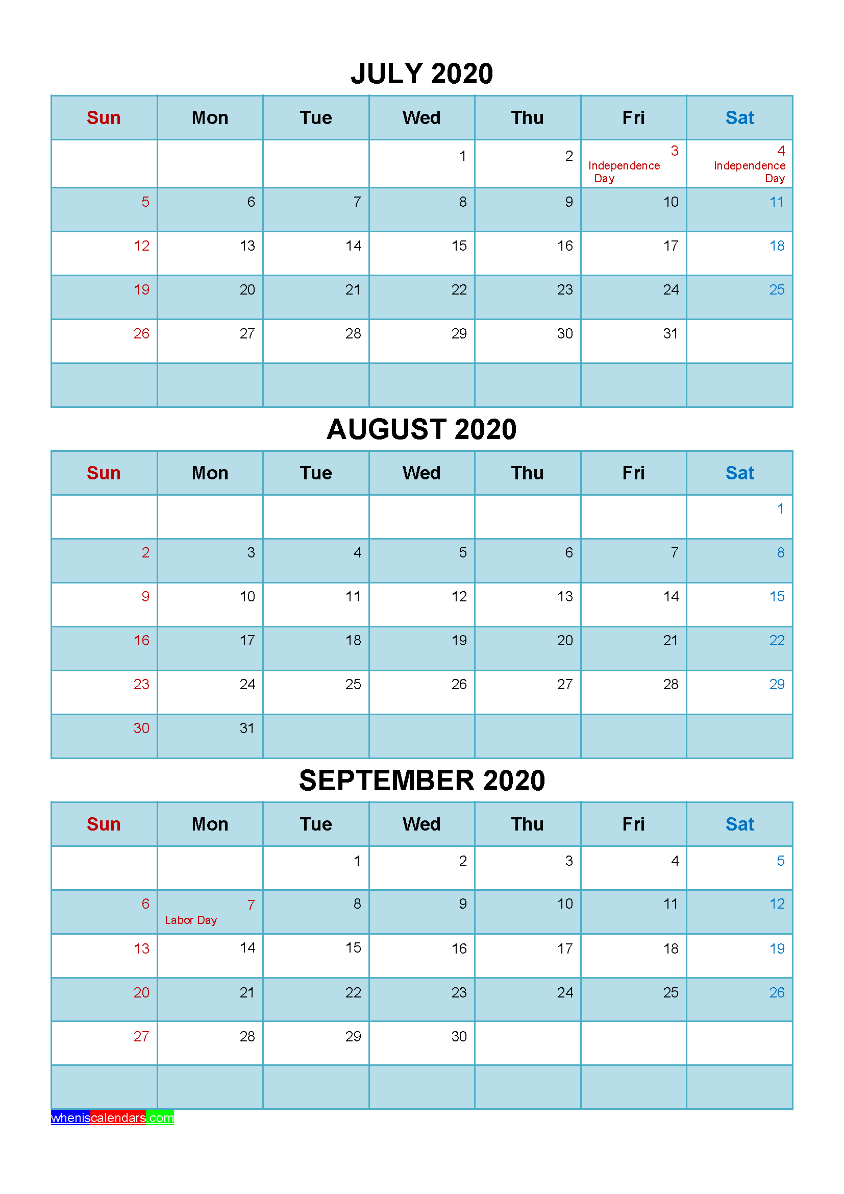 Free July August September 2020 Calendar with Holidays