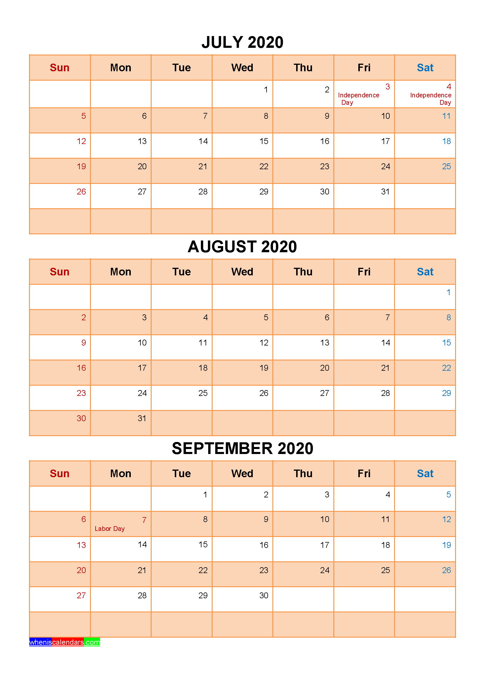 Free Printable July August September 2020 Calendar 3 Months 1 Page