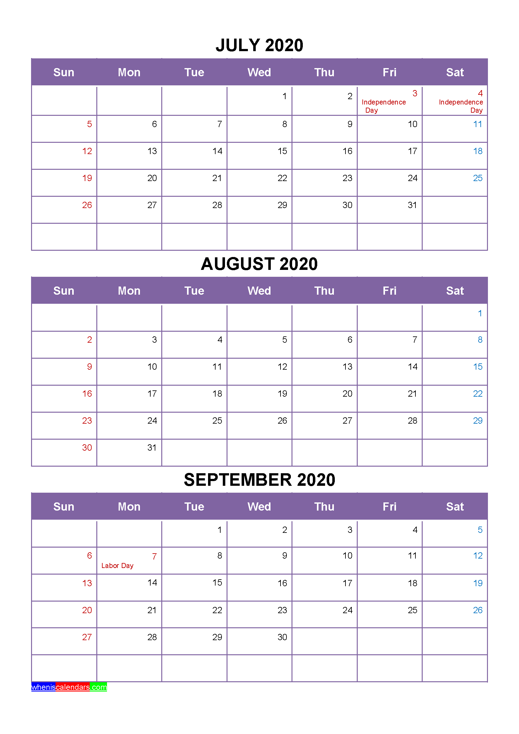 Free July August September 2020 Printable Calendar Template