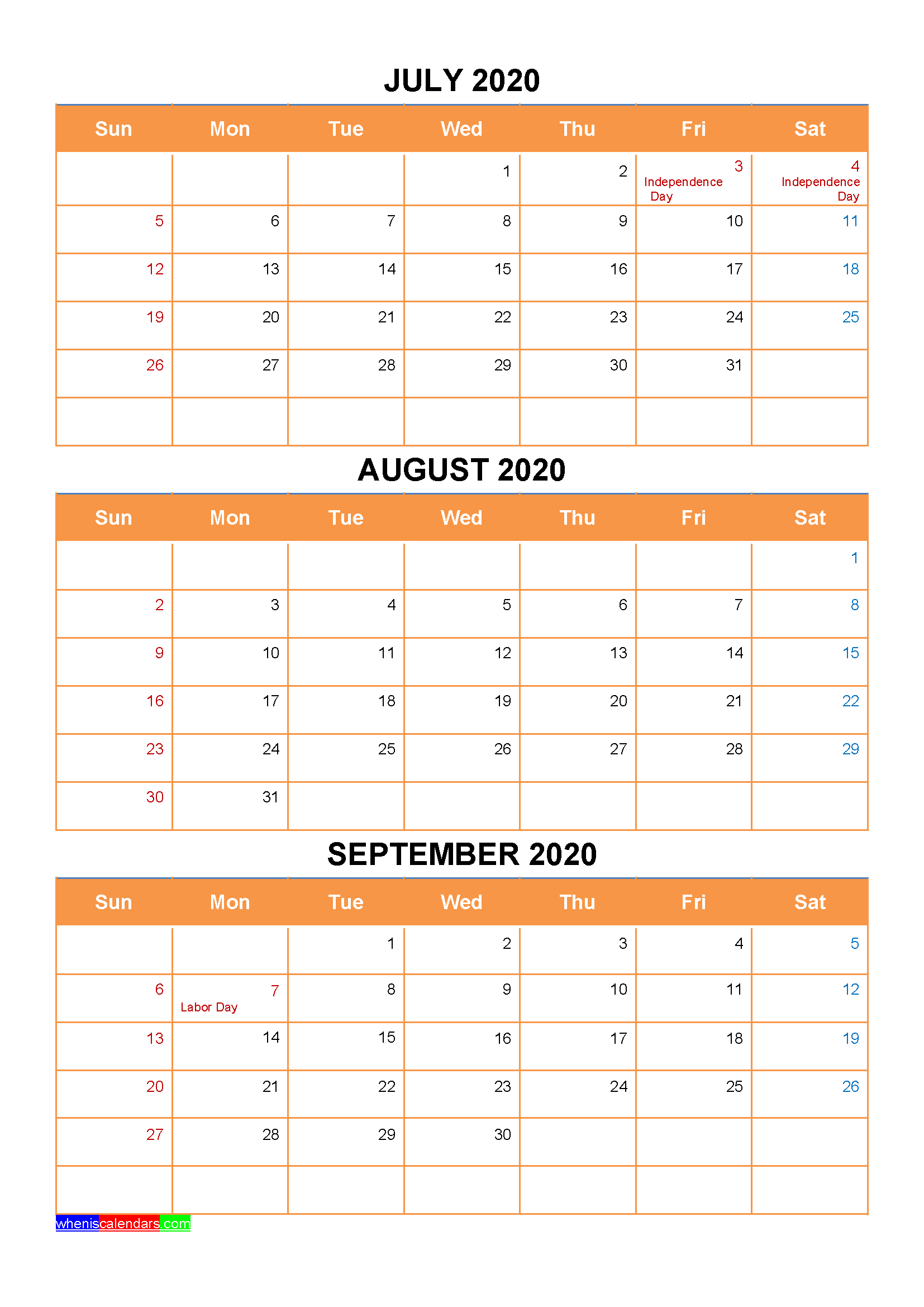 July August September 2020 Calendar with Holidays Printable