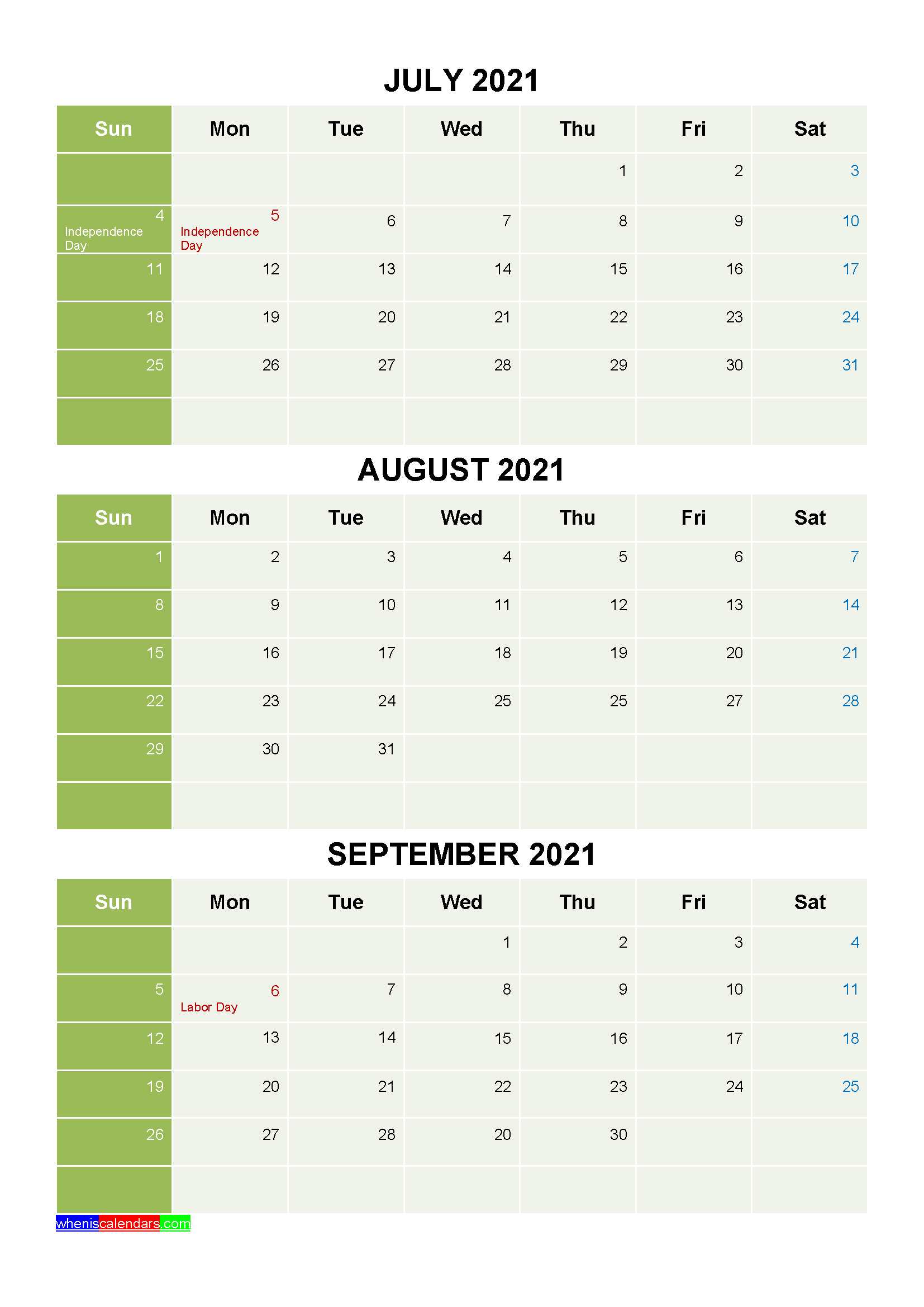 Free Calendar July August September 2021 with Holidays
