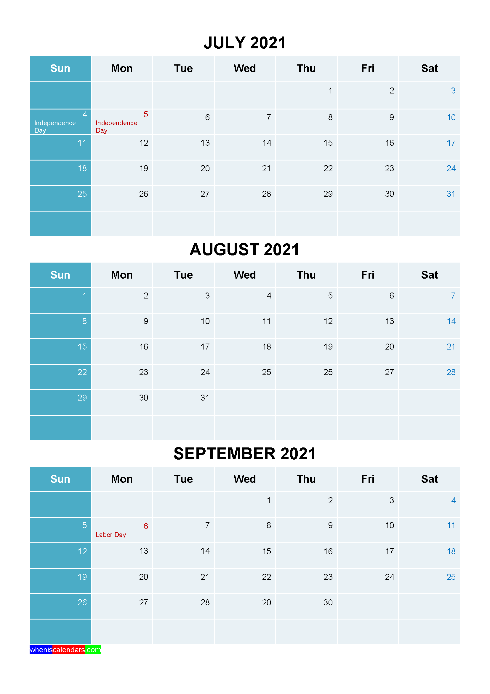 July August September 2021 Calendar with Holidays Printable