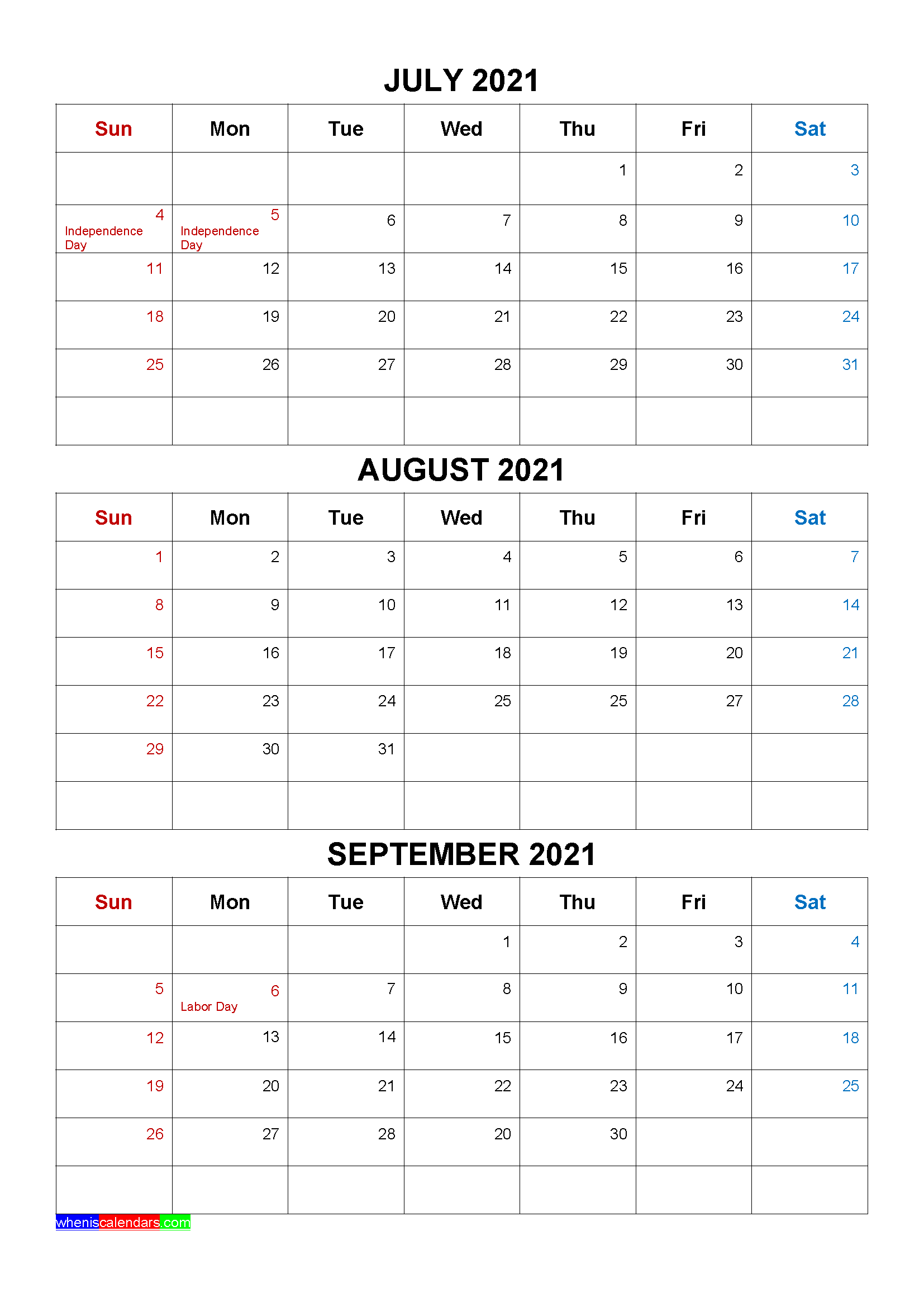 Free July August September 2021 Calendar with Holidays